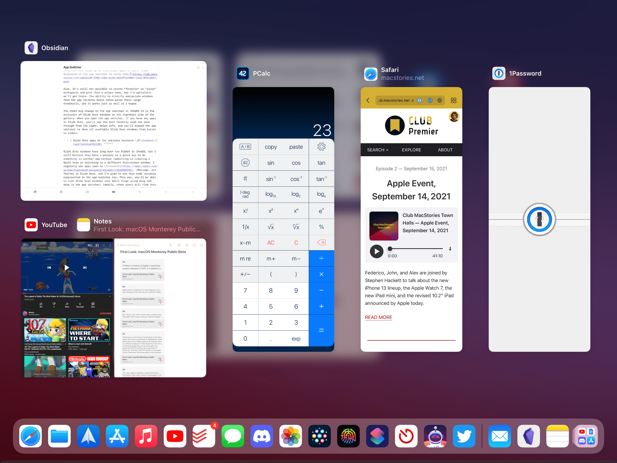 You can now see all Slide Over apps in the app switcher.
