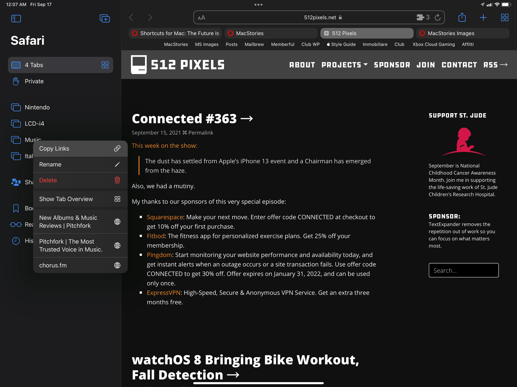 Context menus for tab groups.