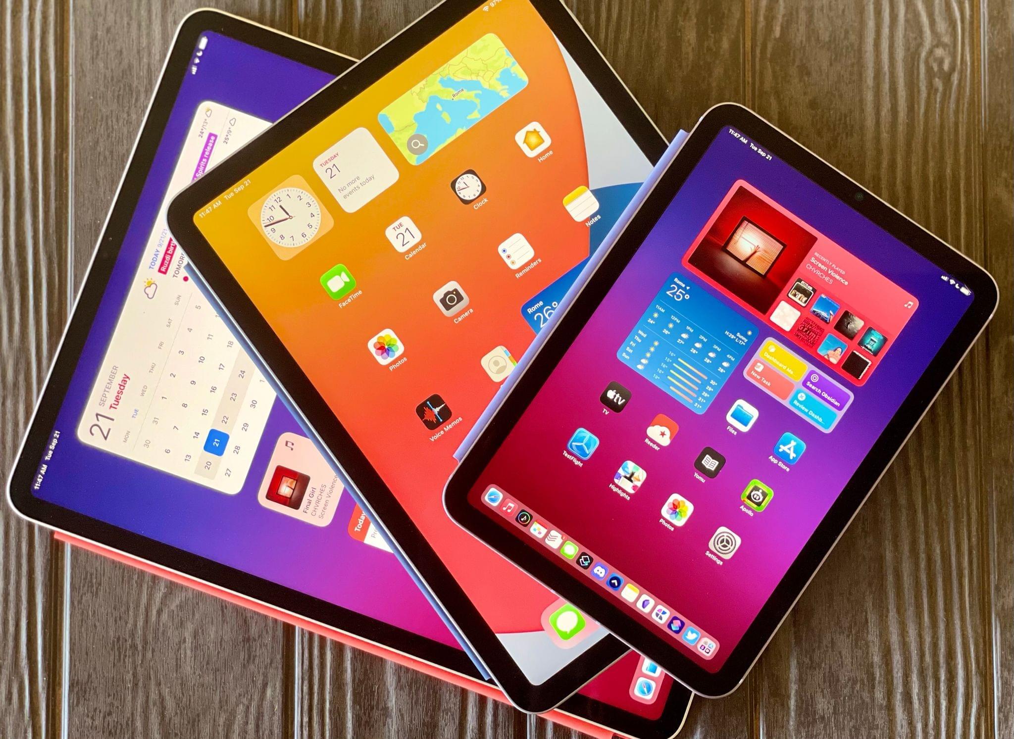 The iPad Pro, iPad Air, and new iPad mini.