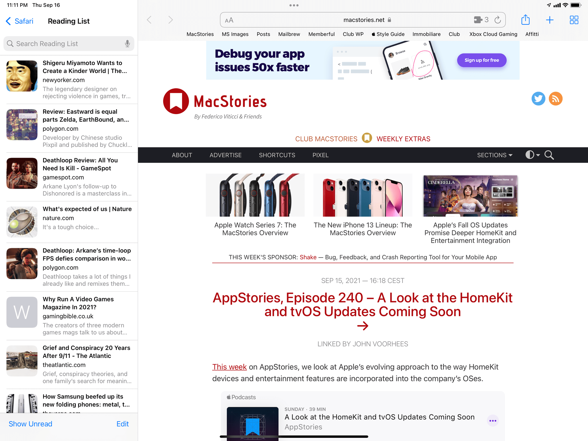 The new sidebar for Reading List in iPadOS 15.