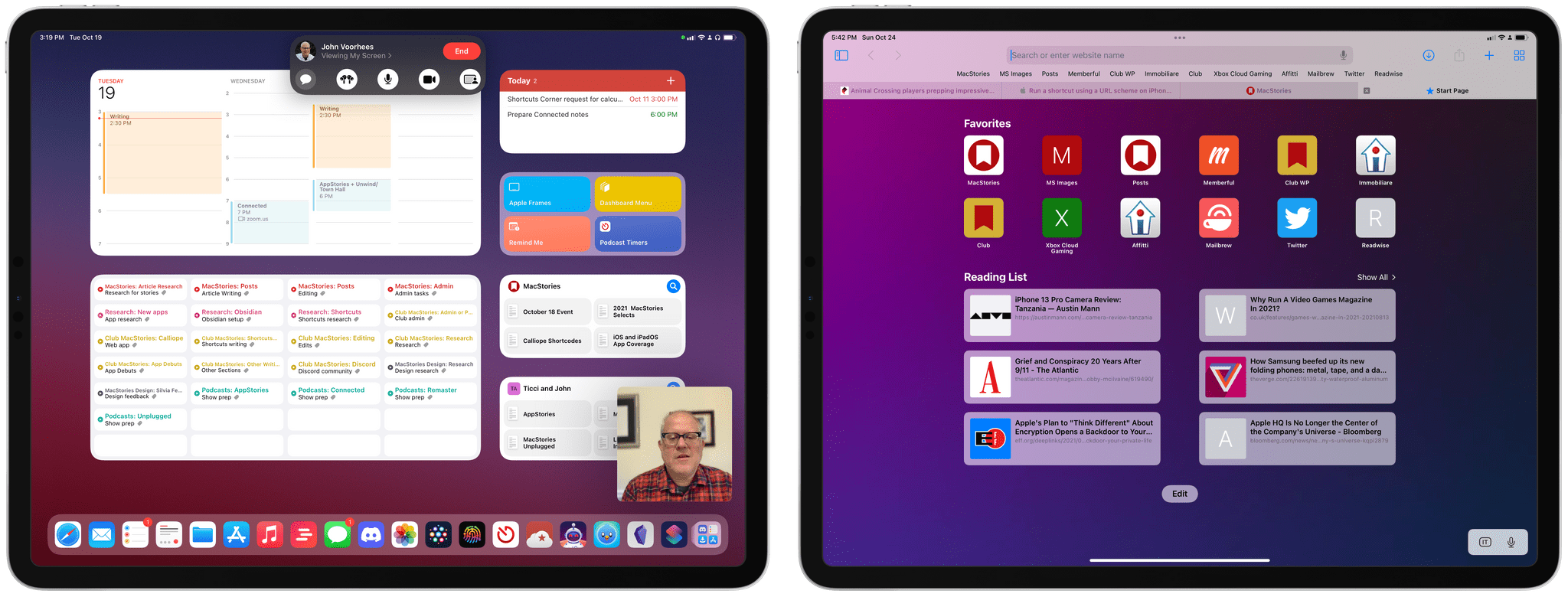 Screen sharing in FaceTime with SharePlay (left) and the updated Safari for iPad.