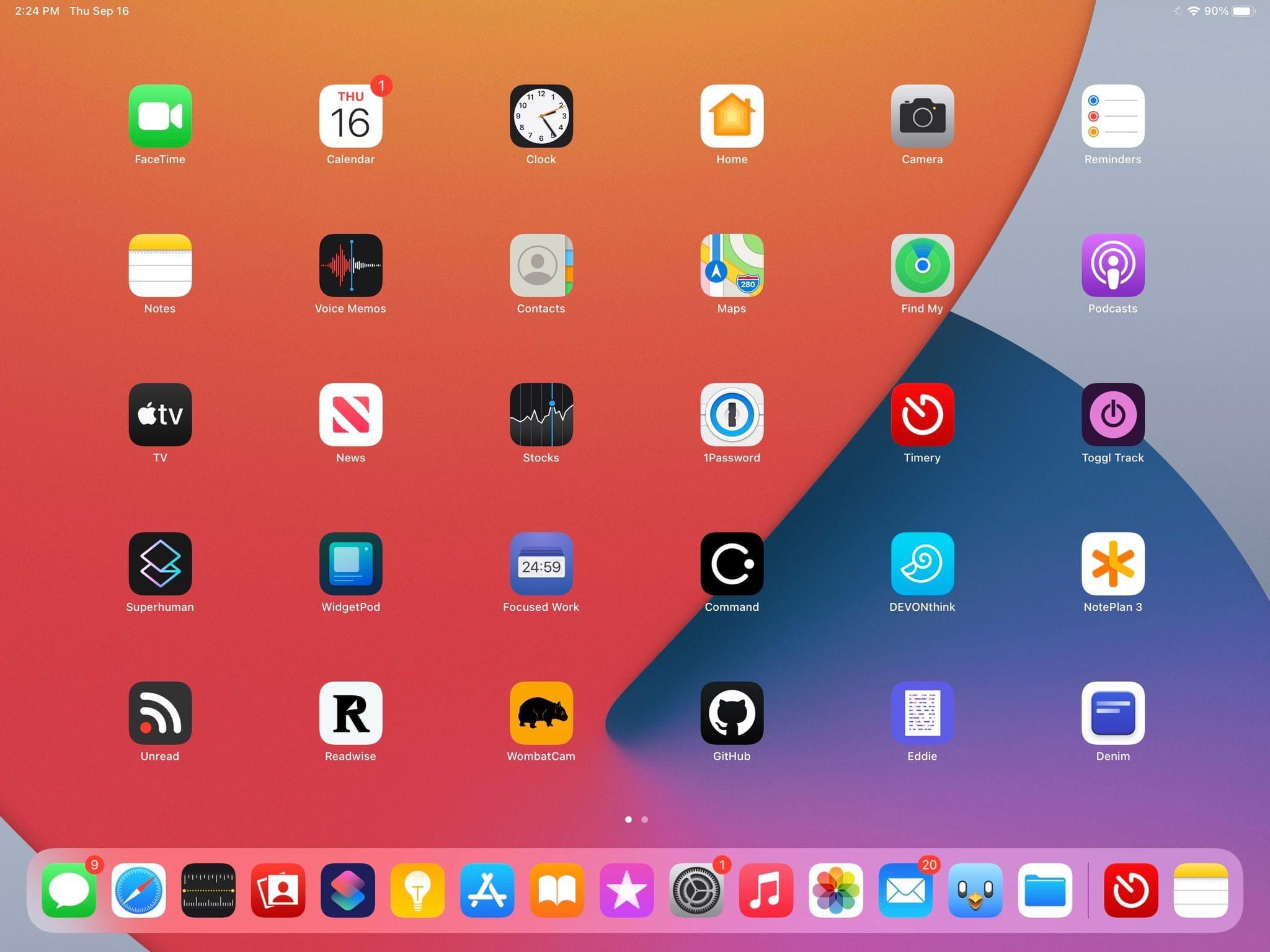 The icon grid on iPadOS 14.