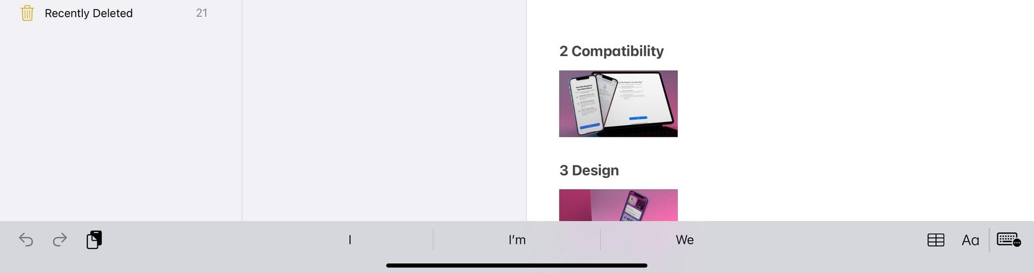 The old keyboard shortcuts bar in iPadOS 14.