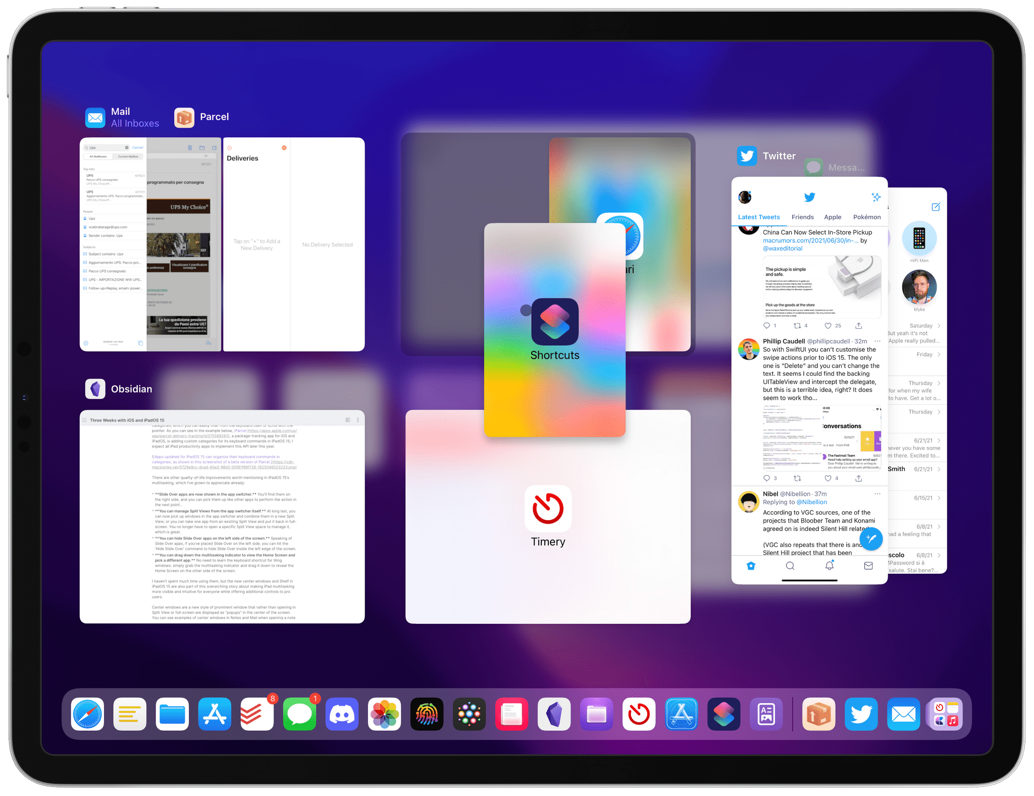 Slide Over apps are shown in the iPadOS 15 app switcher, which also lets you manage Split Views with drag and drop.
