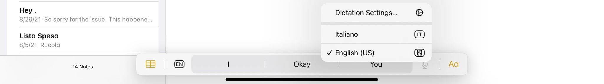 Right-click the microphone button to access dictation settings.
