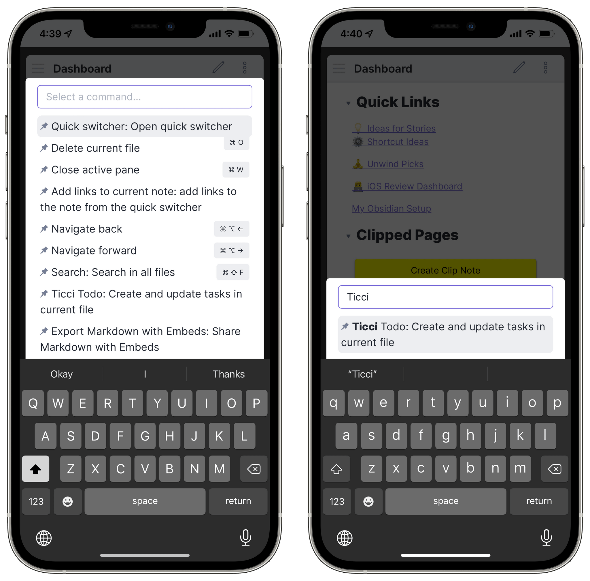 The command palette lets you search for commands by name.