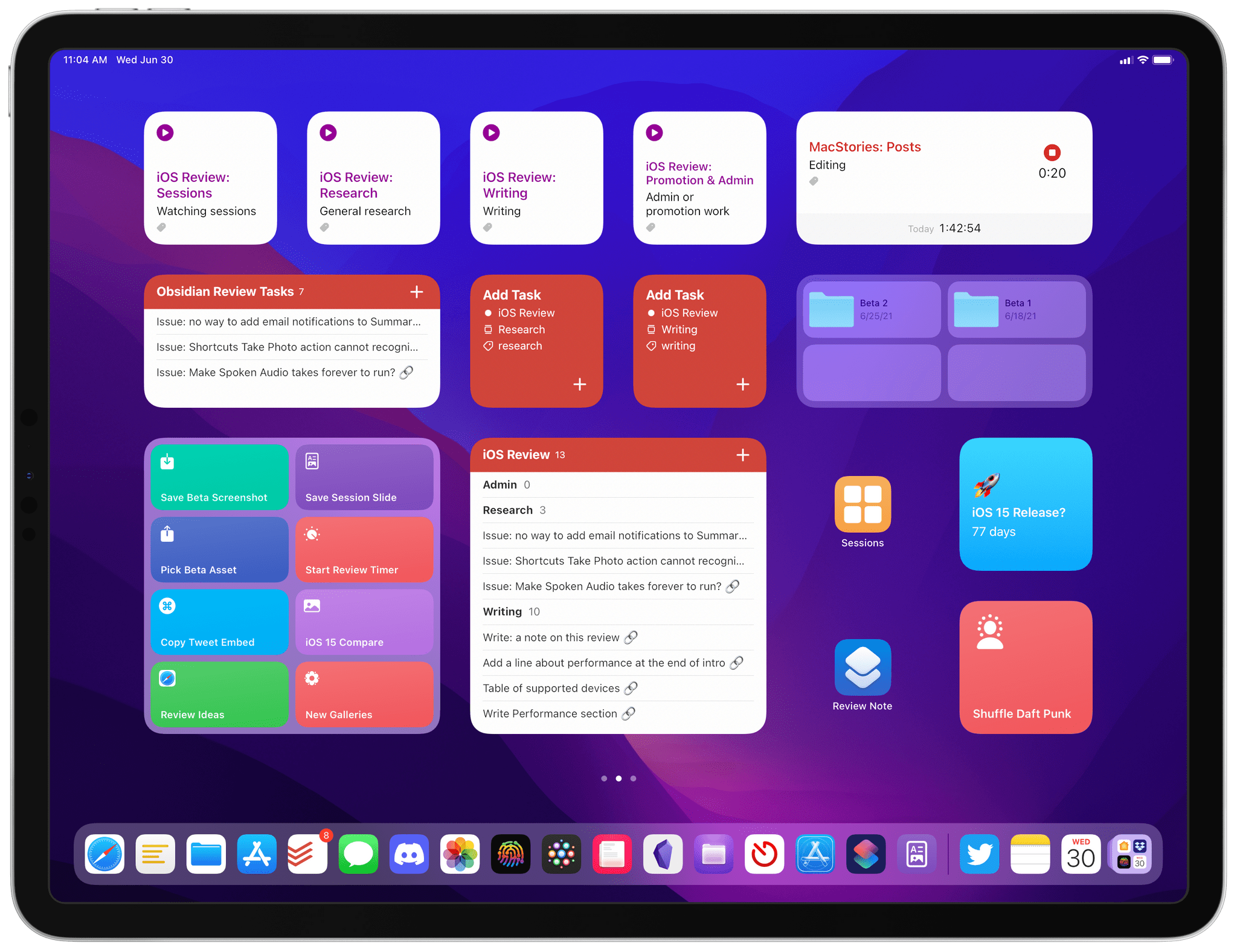 My iOS Review Home Screen for iPadOS 15. You can read more details about this in [Issue 277 of MacStories Weekly](https://club.macstories.net/newsletter-archive/).
