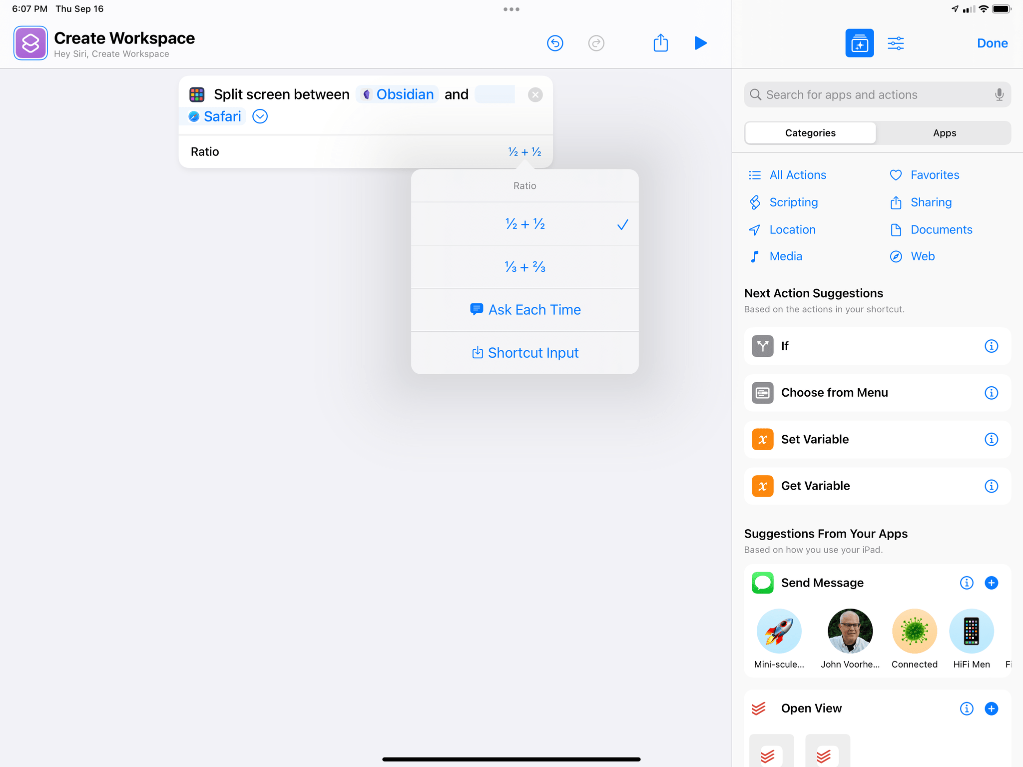 The new action to create Split Views via Shortcuts.