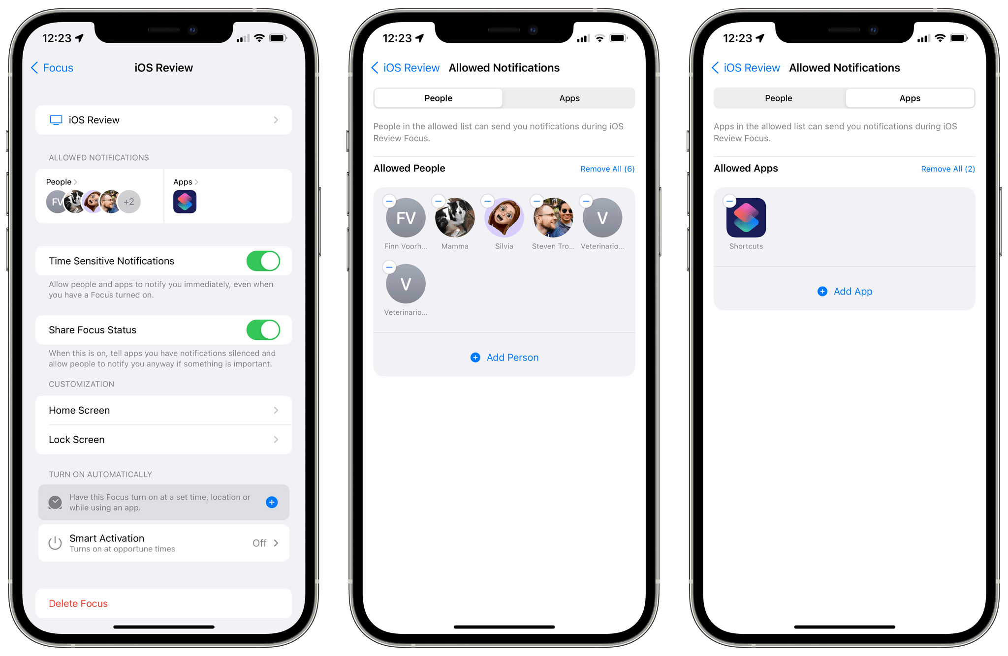 Configuring notifications from apps and people in iOS 15's Focus.