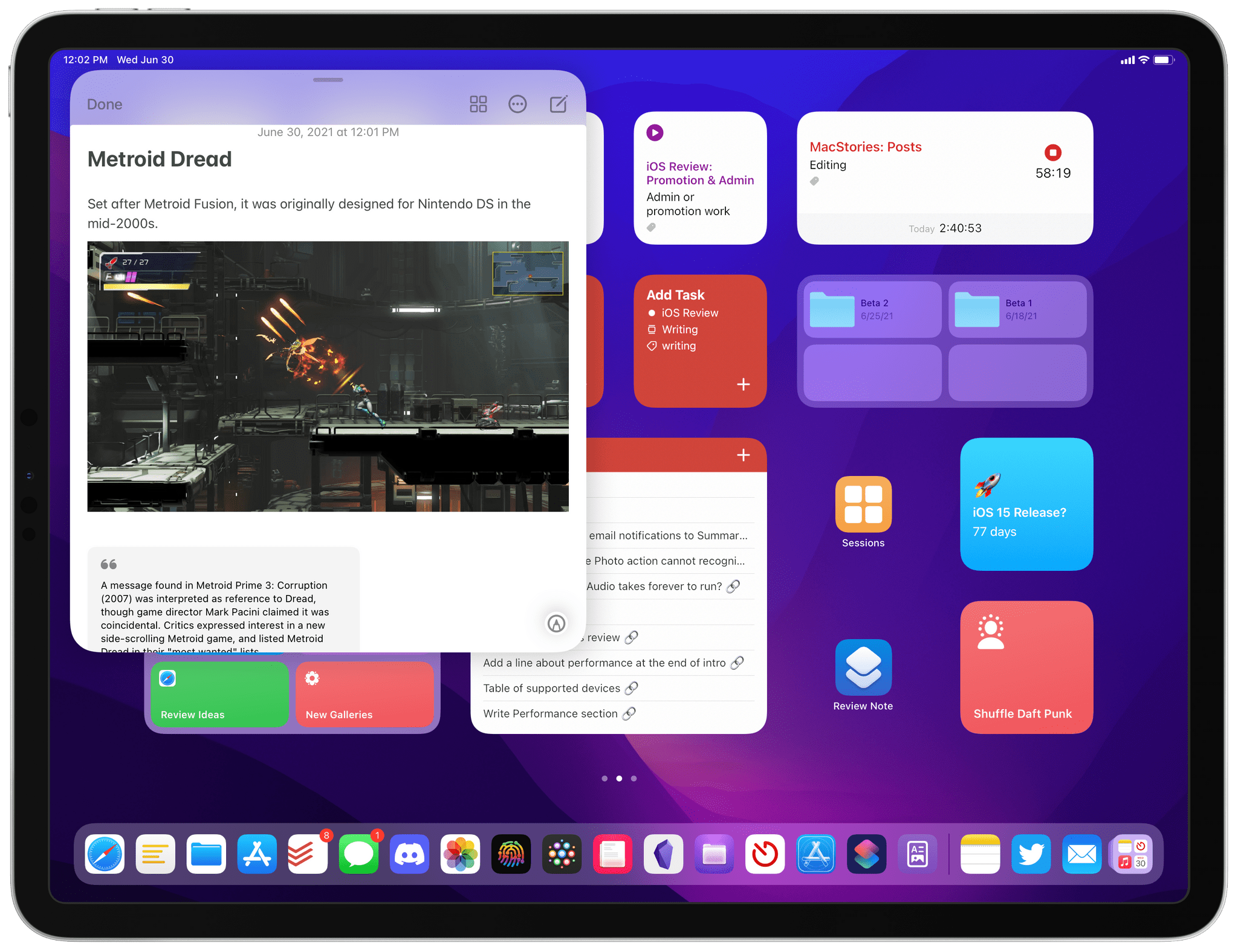 You can resize the Quick Note window and put it anywhere onscreen.