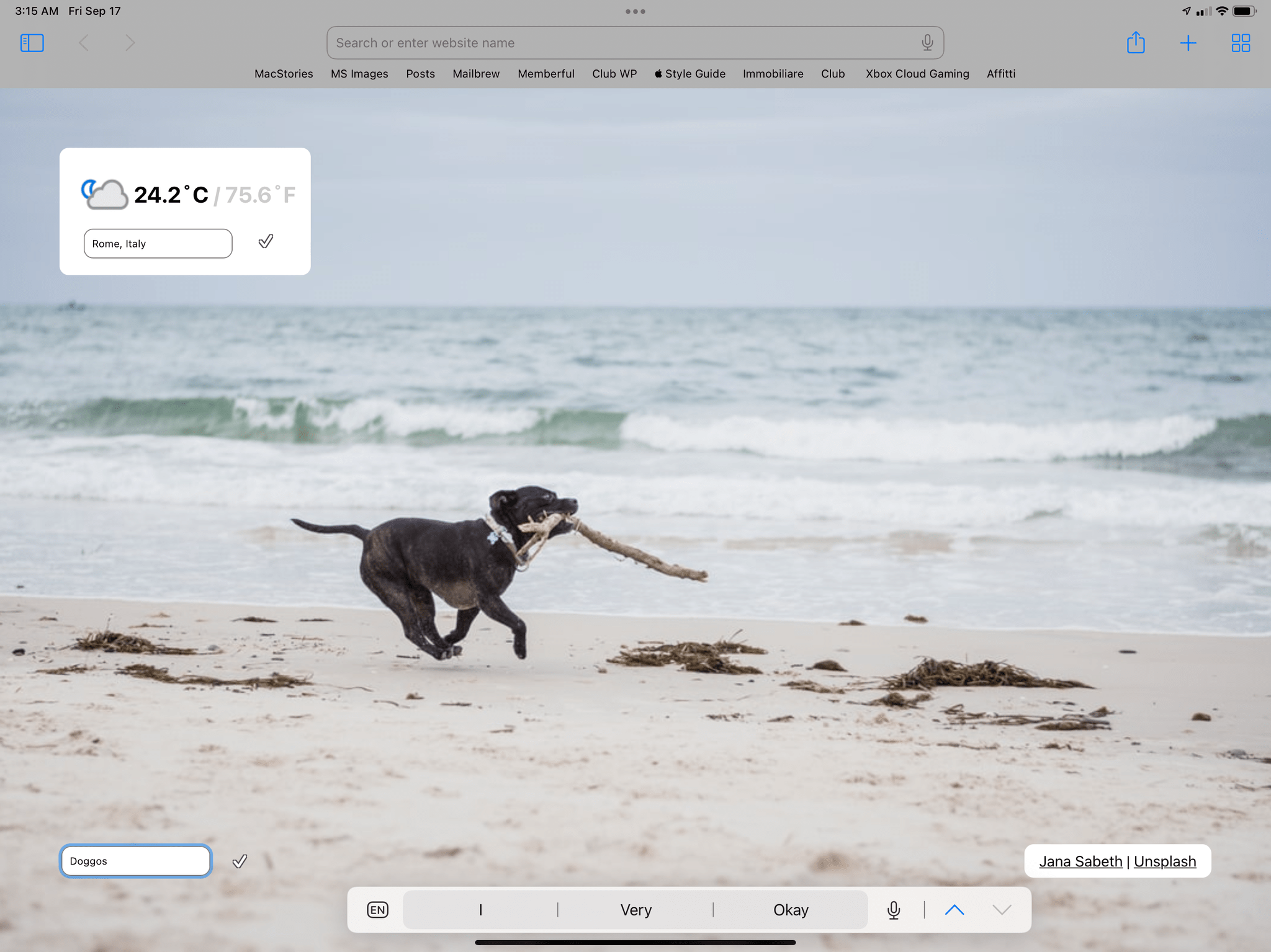 A custom start page.