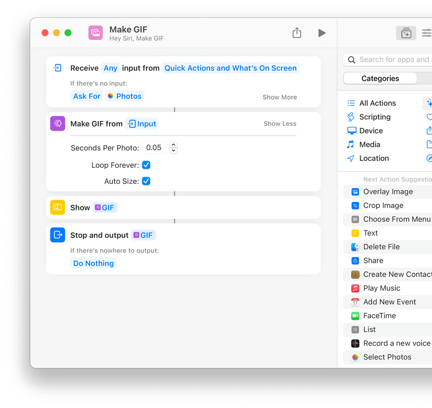 Building shortcuts works the same way on the Mac as it does on the iPhone and iPad. Source: Apple.