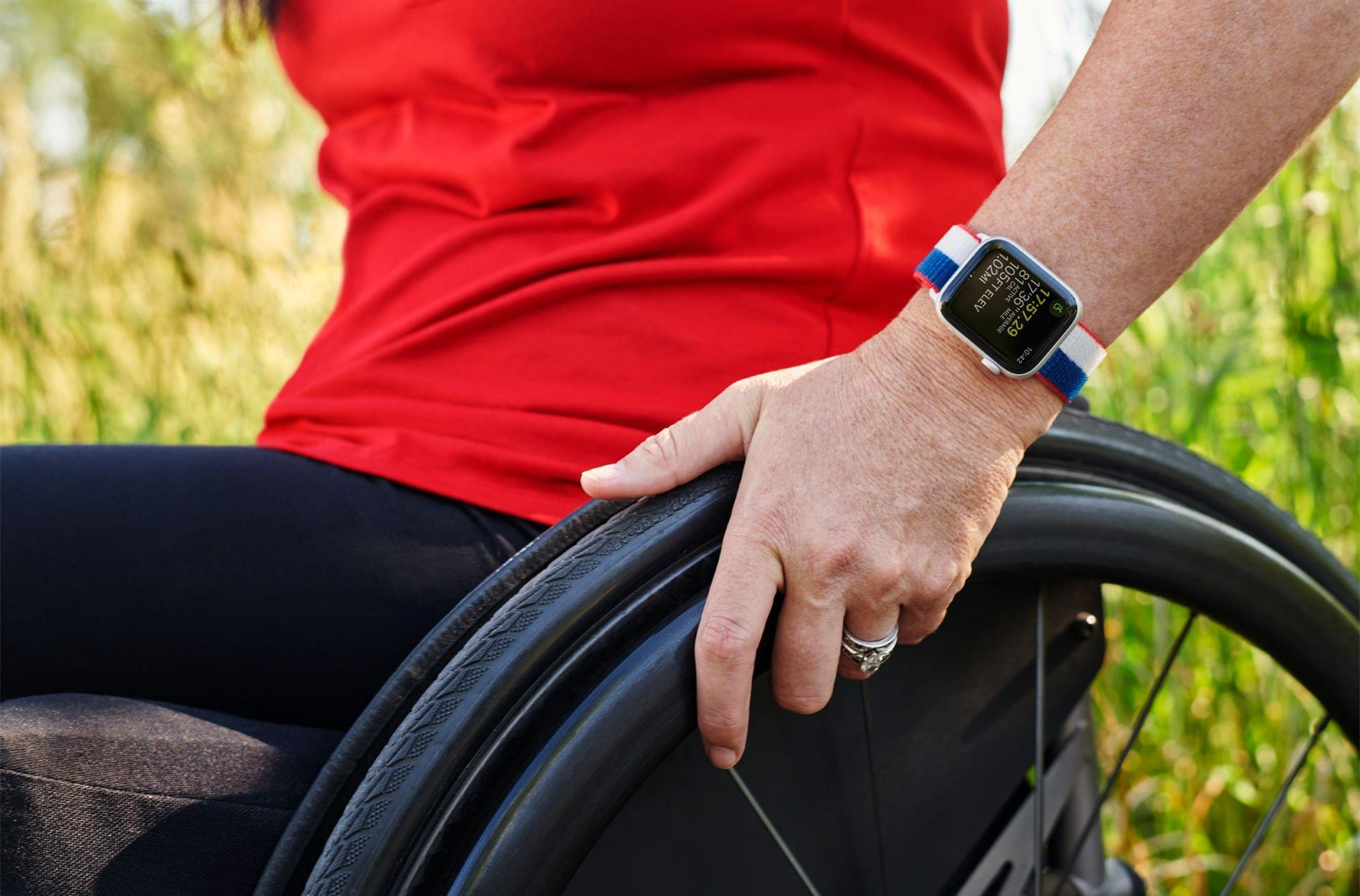 The US Sports Loop band from Apple's International Collection modeled by Olympic gold medalist Amy Van Dyken.
