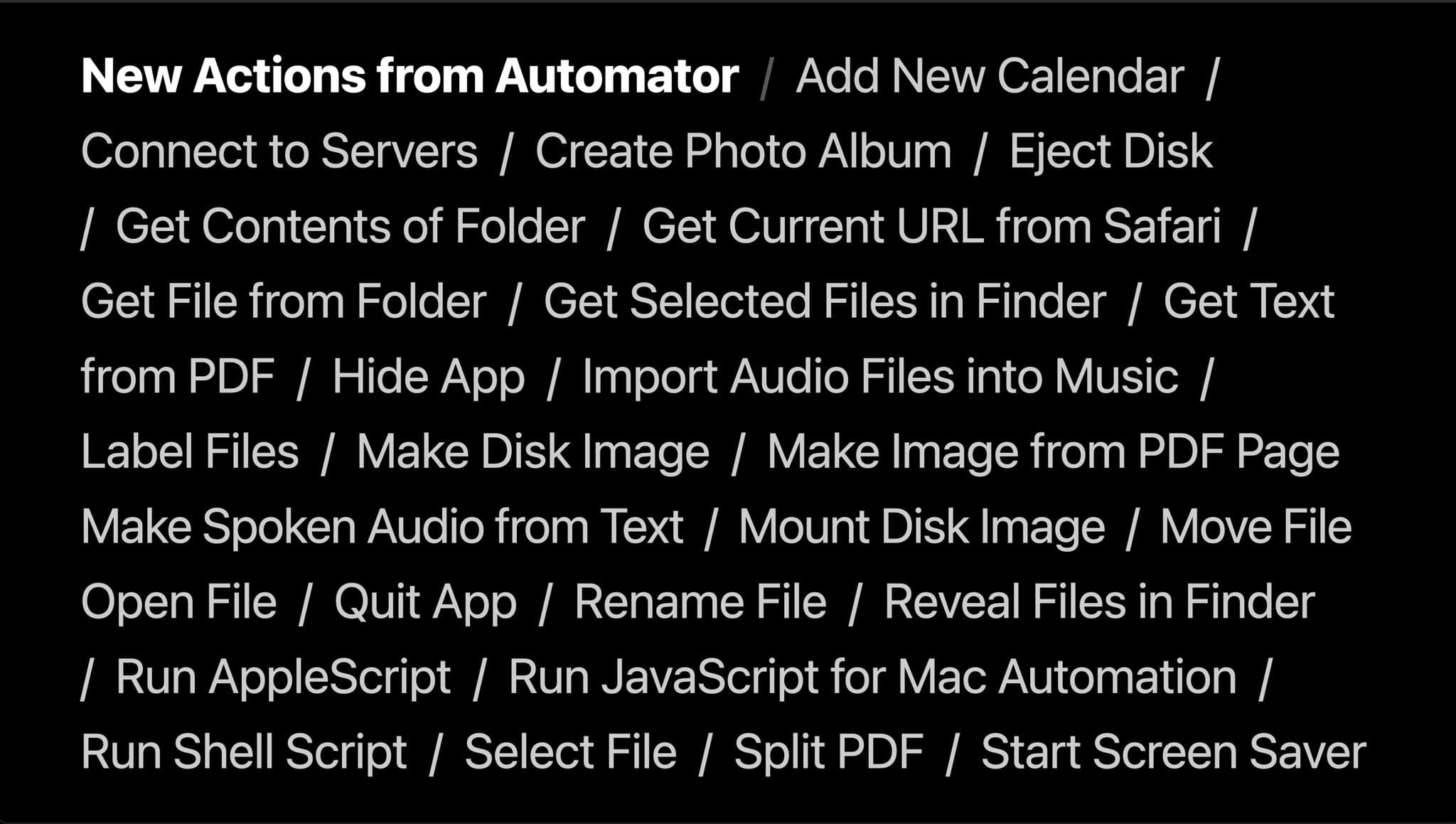 The most popular Automator actions are being reimplemented as Shortcuts actions. Source: Apple.