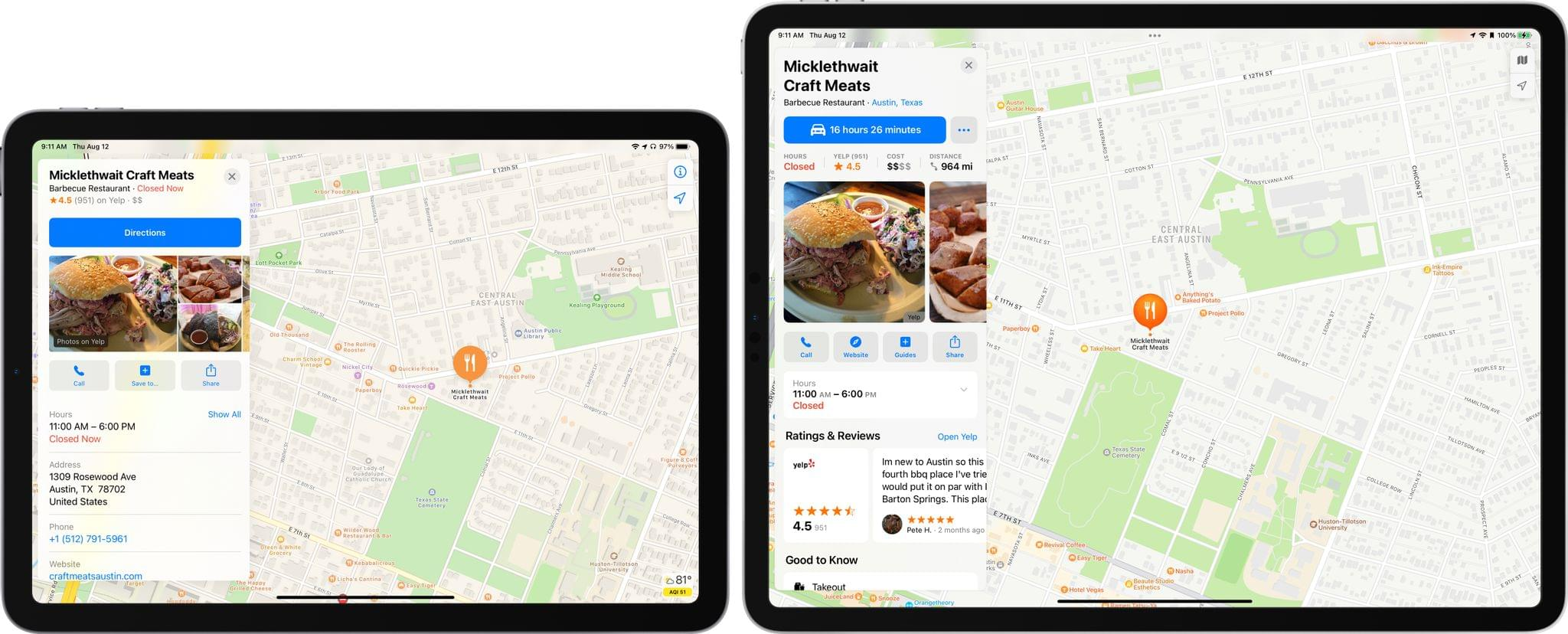 An iOS 14 place card (left) and an iOS 15 place card (right). Am I making you hungry?