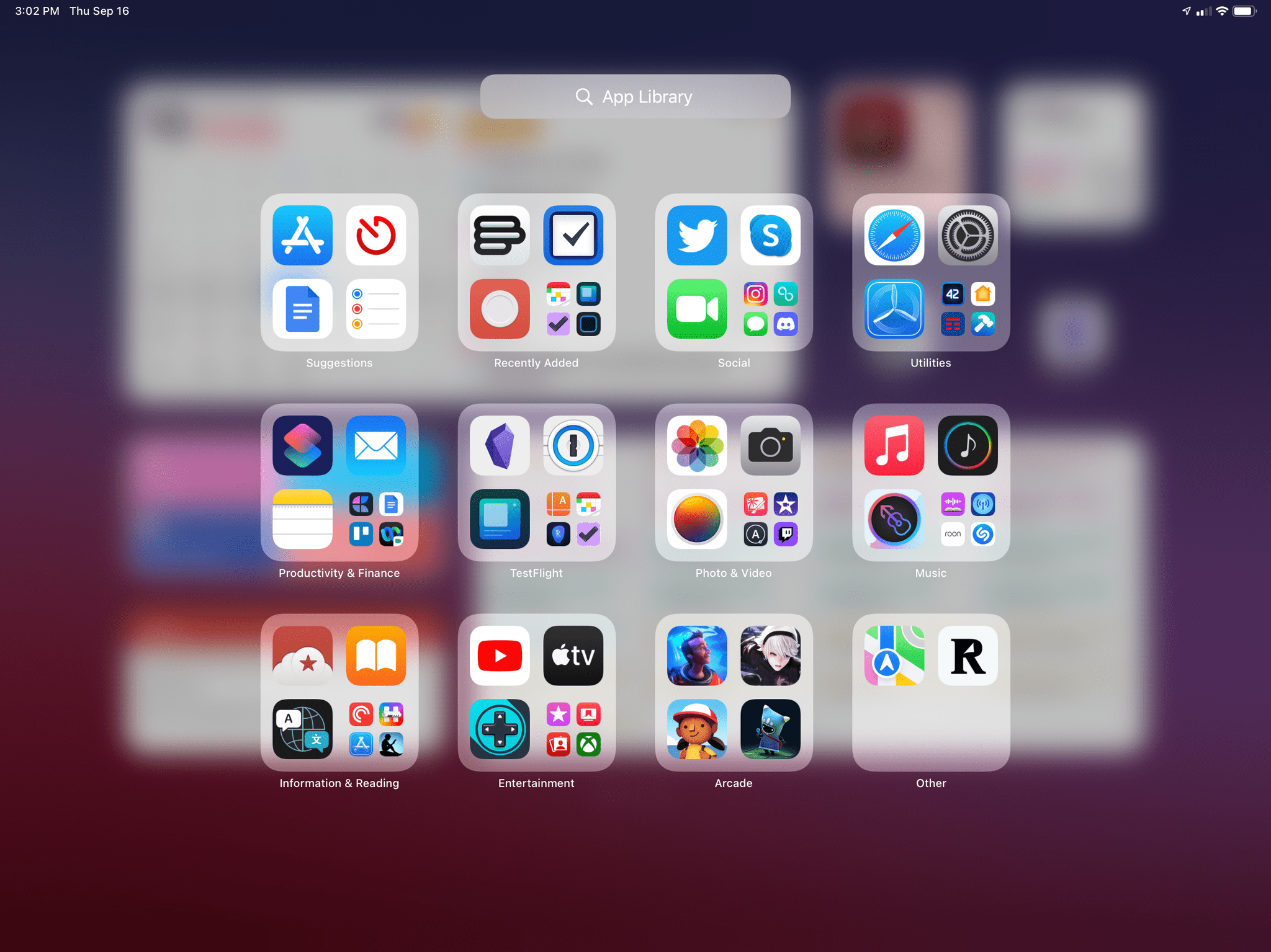 The App Library on iPad.