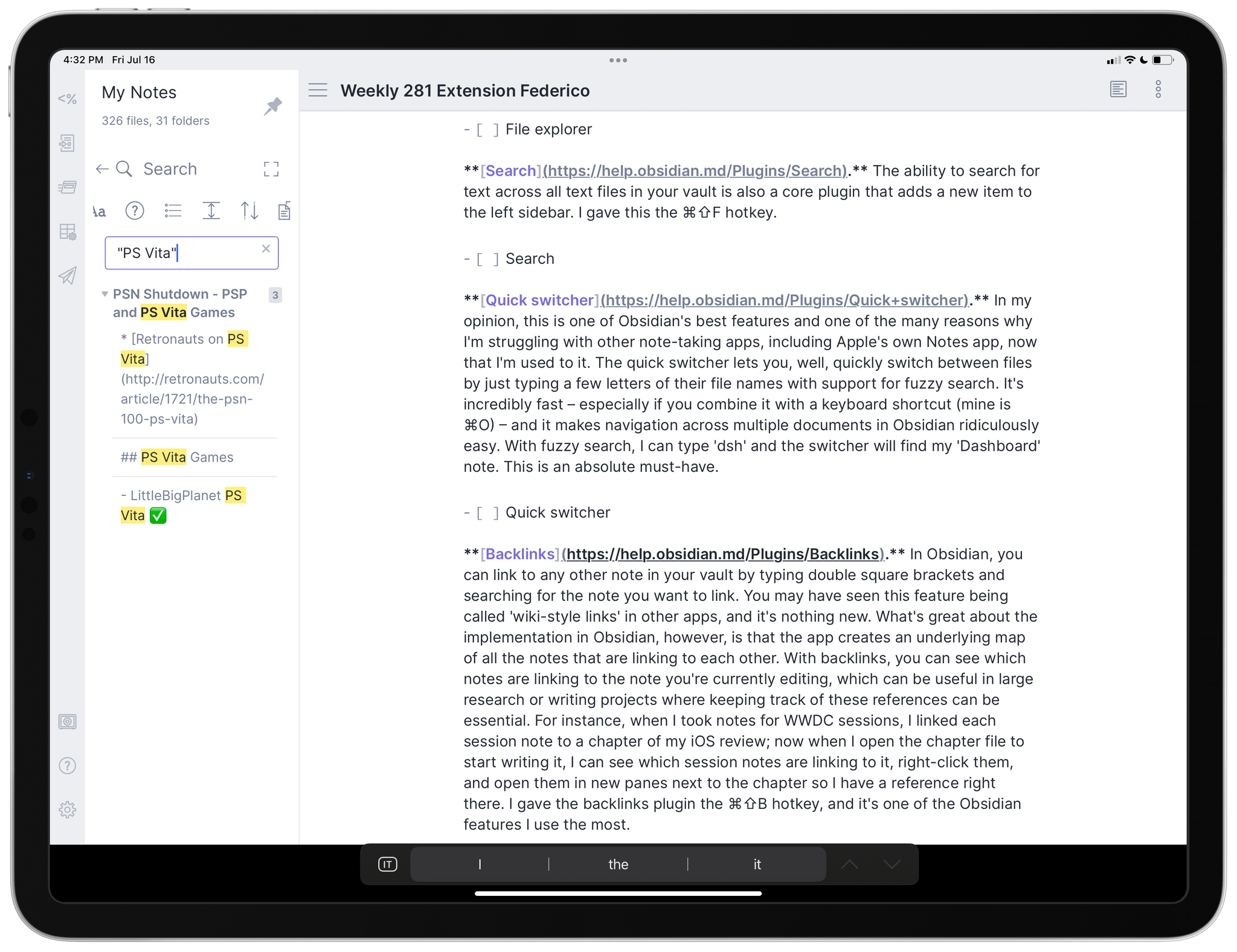 Full-text search in Obsidian.