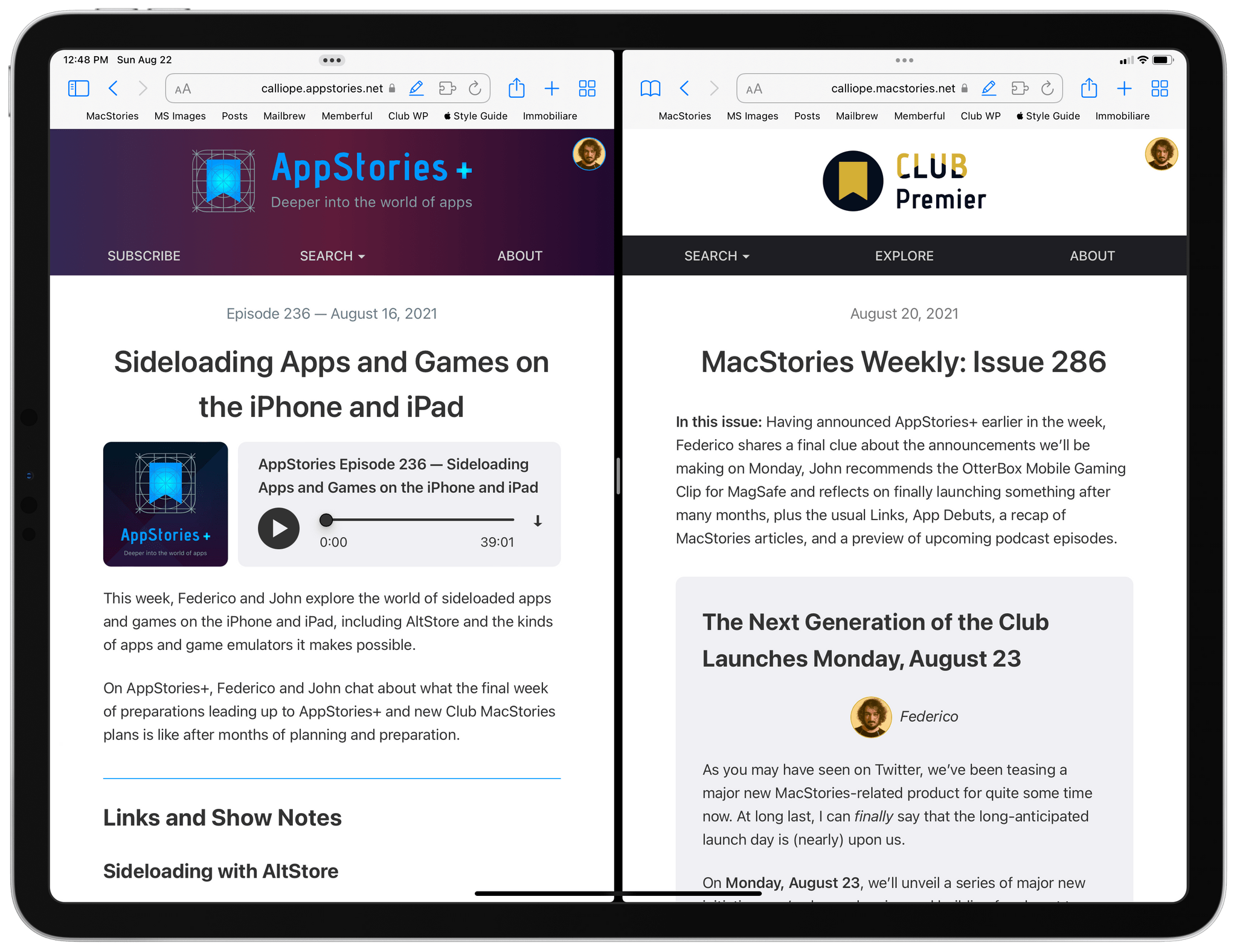 Calliope currently powers the Club MacStories and AppStories websites.