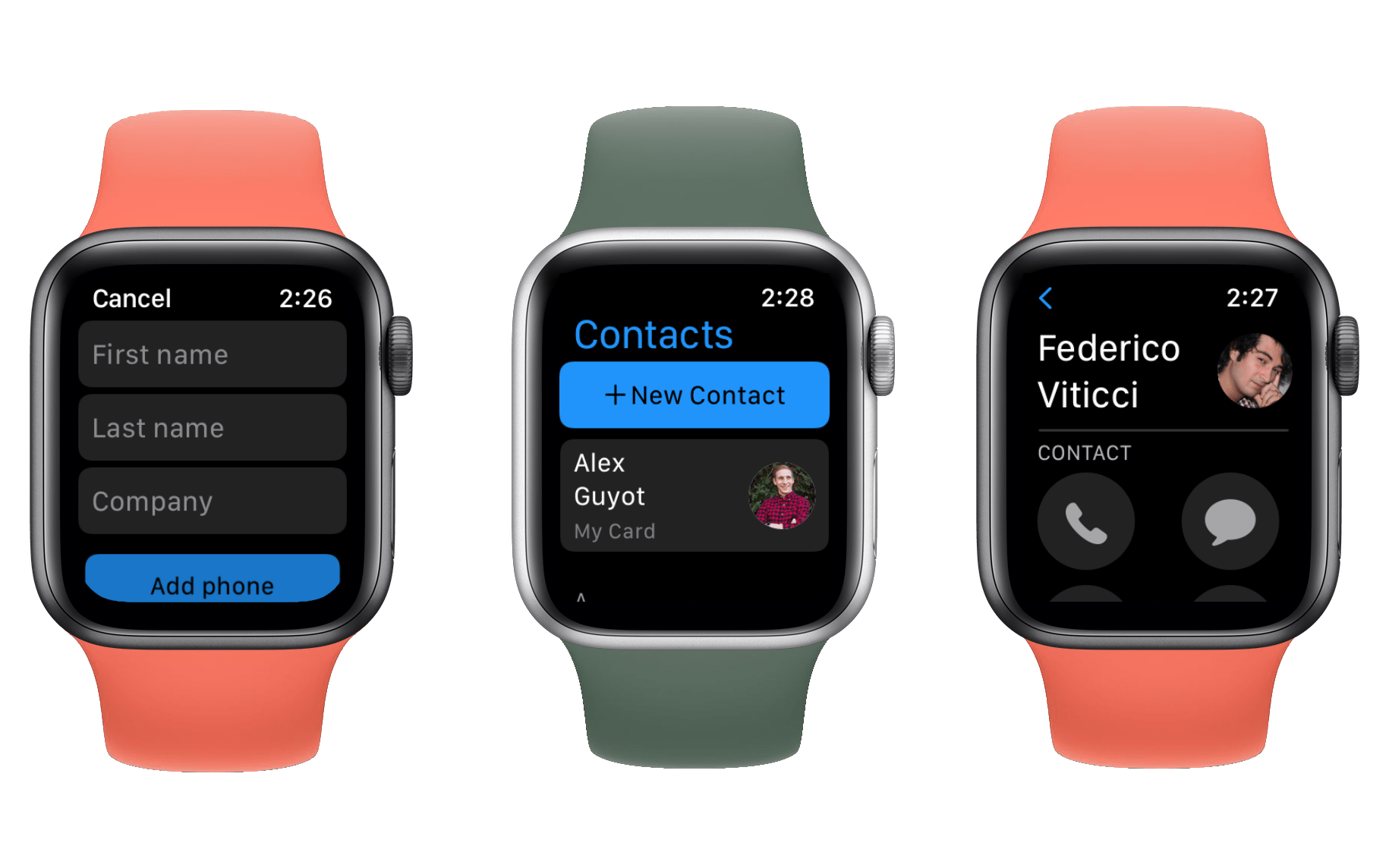Creating and viewing contacts in watchOS 8.