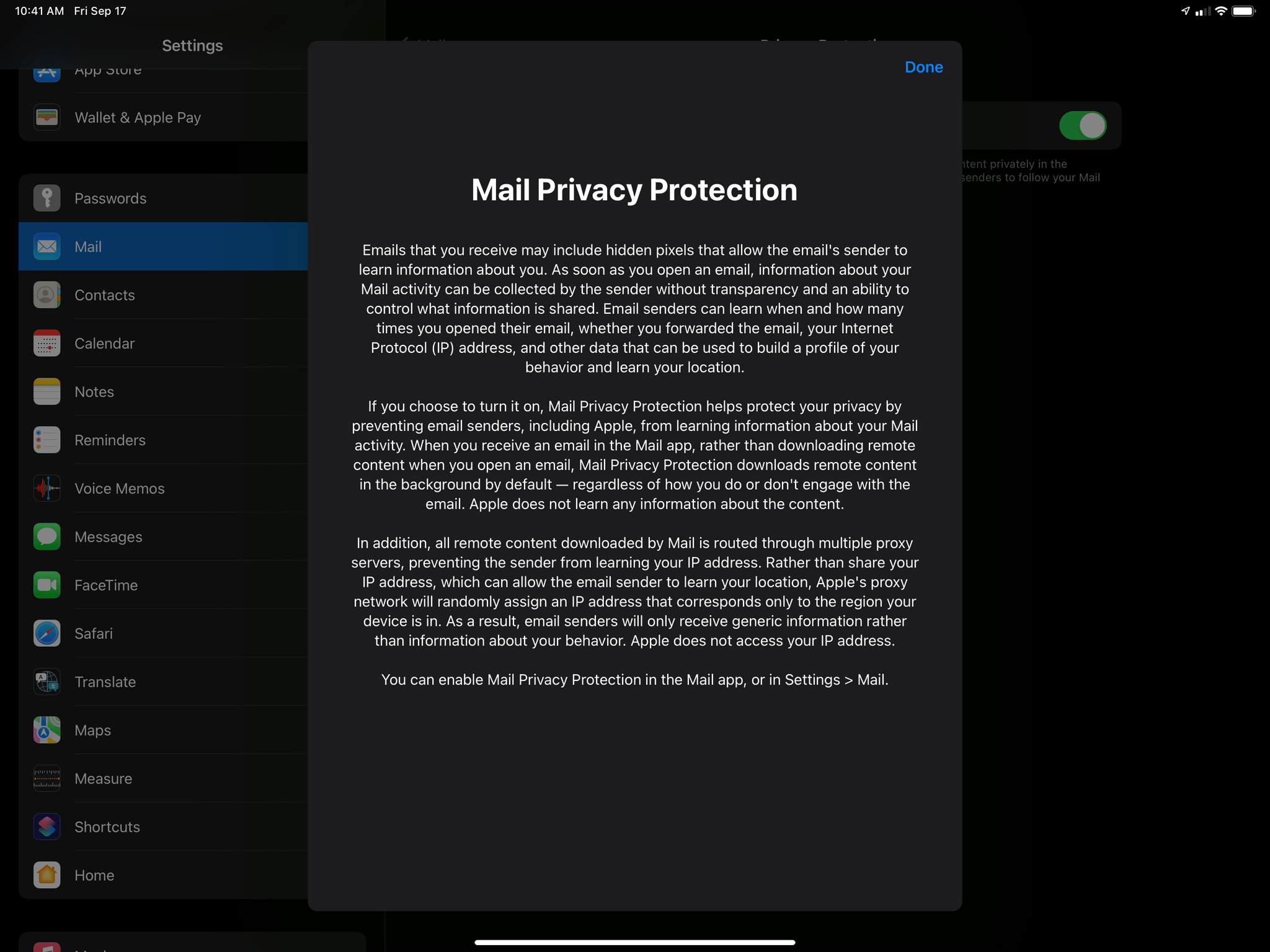 Enabling Mail Privacy Protection.
