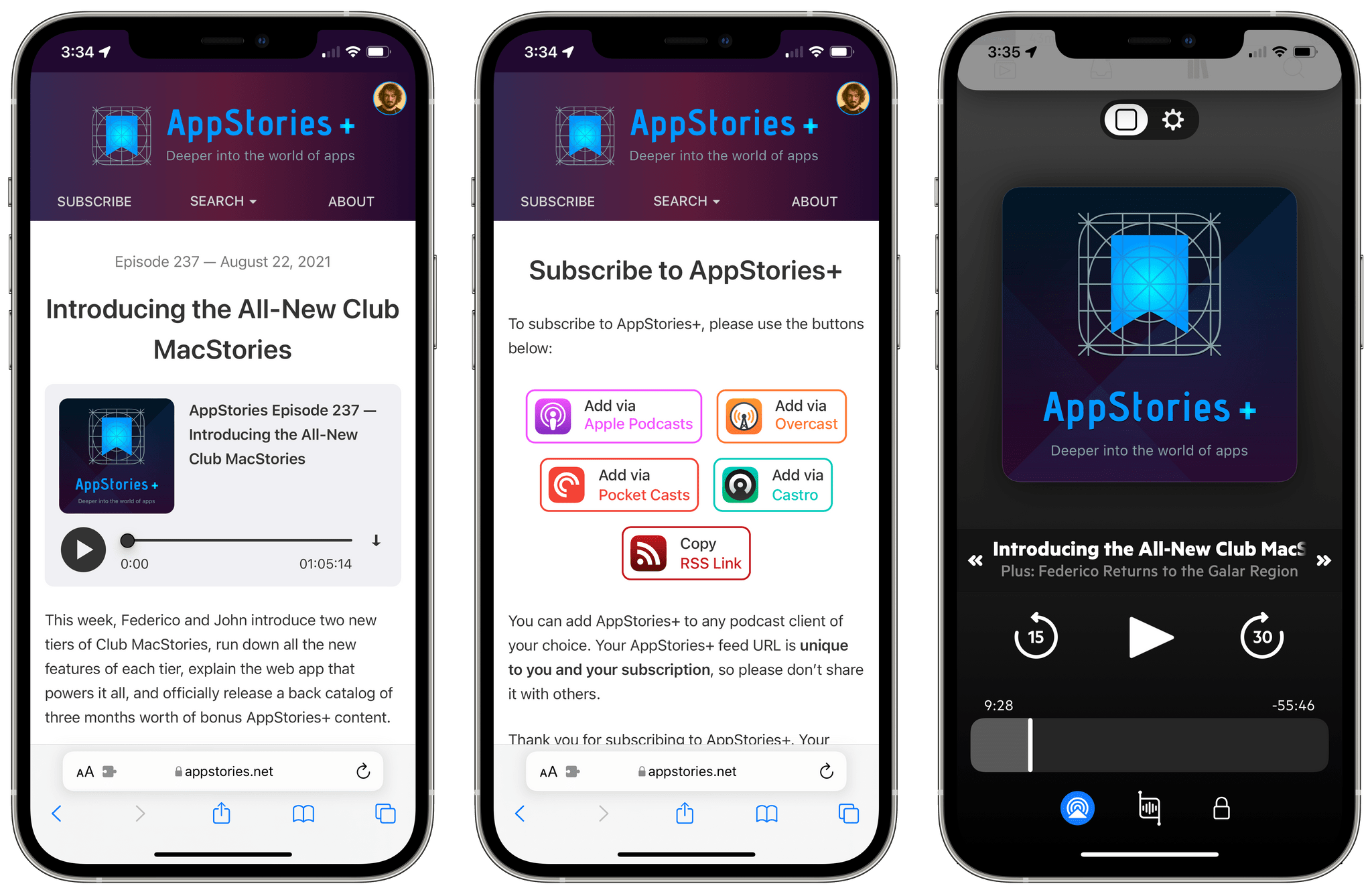 The new AppStories website and subscribing to AppStories+ in Castro.