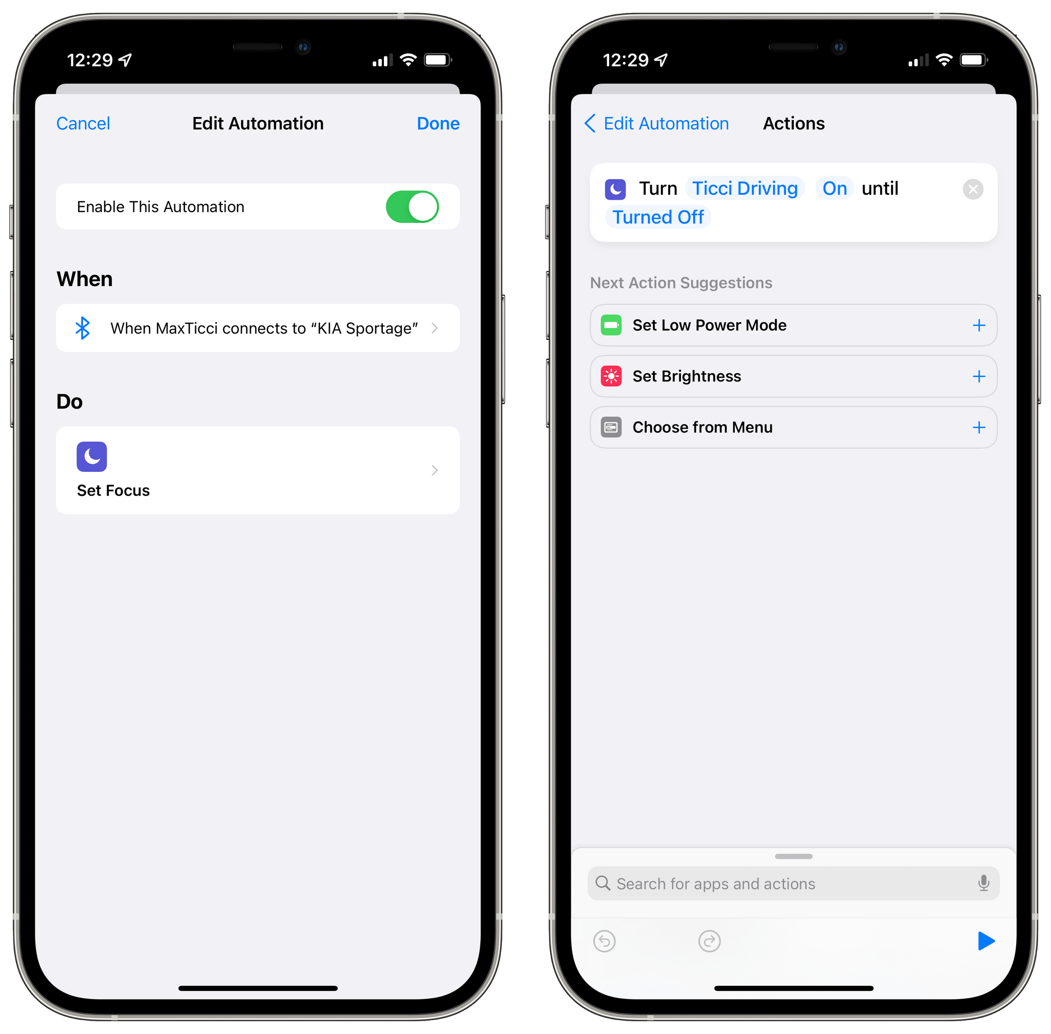 My workaround for turning on a custom Focus when my iPhone connects to a specific Bluetooth device.