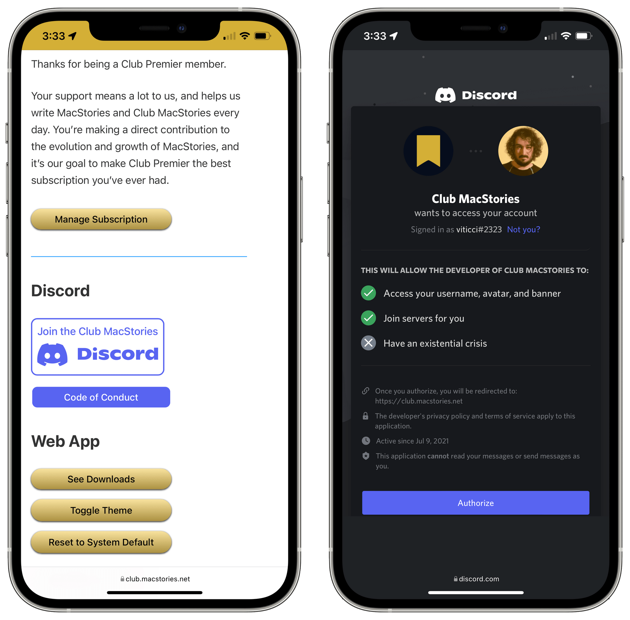 Connecting your Discord account to our server.