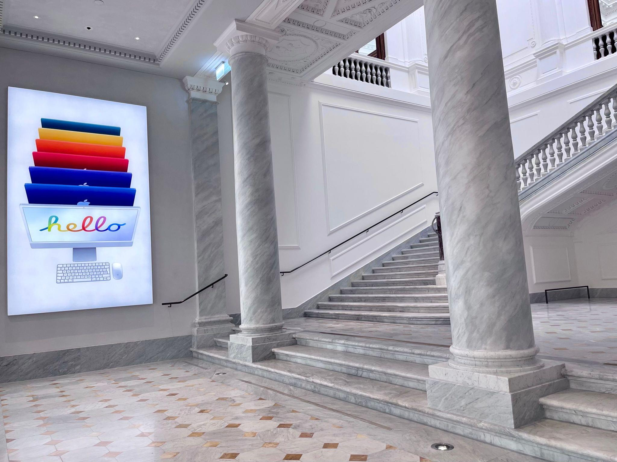 The grand staircase at Apple's new store.