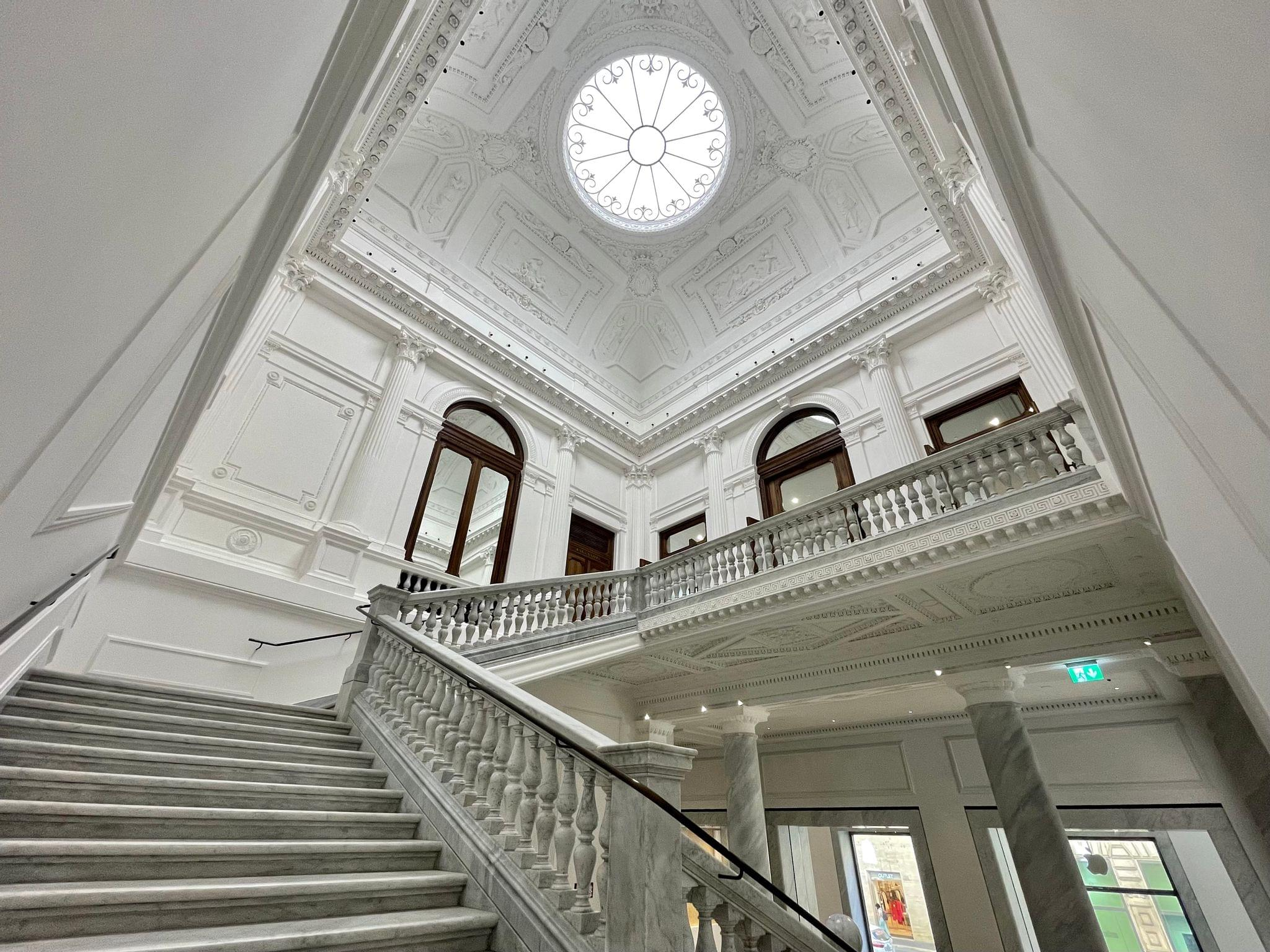 The staircase and skylight.