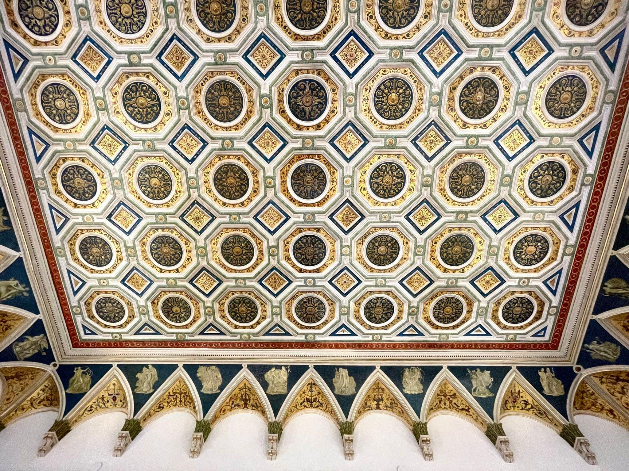 The restored hand-painted ceiling.