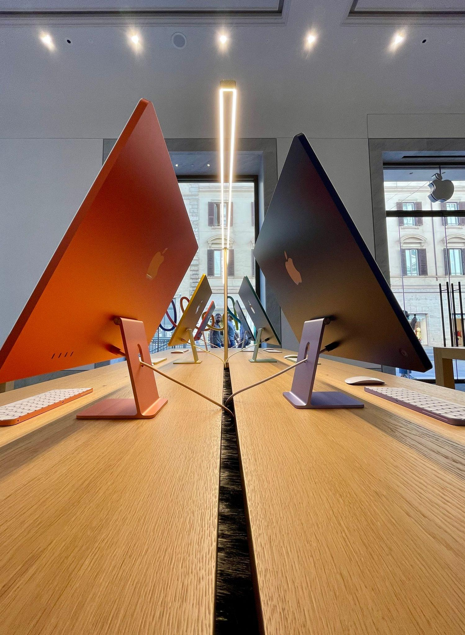As you can imagine, the new colorful iMacs catch a lot of looks from bystanders outside.