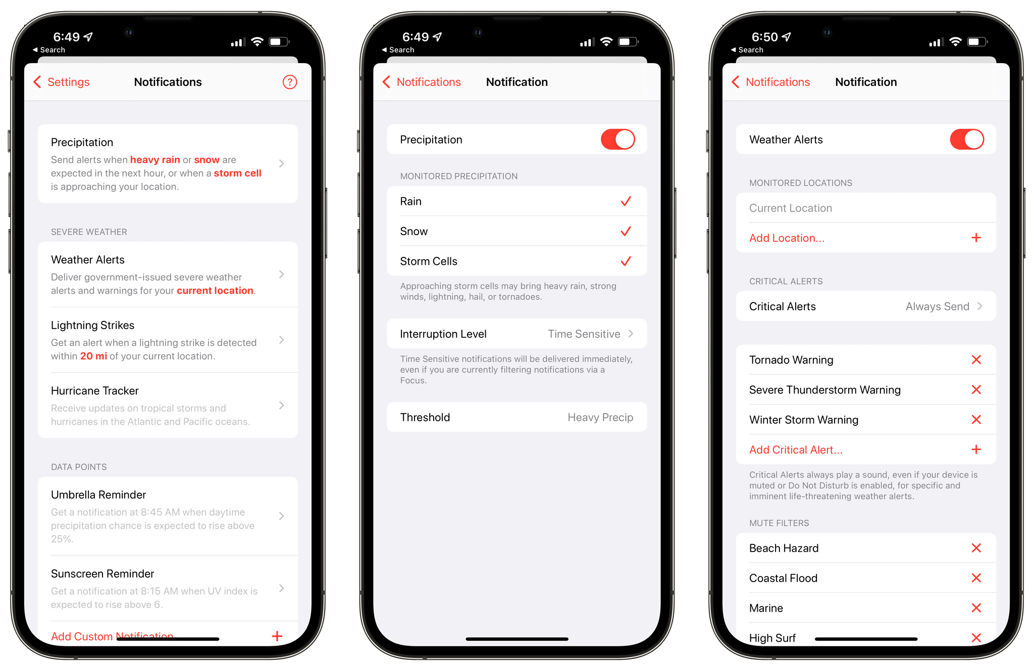 Setting up time sensitive notifications.
