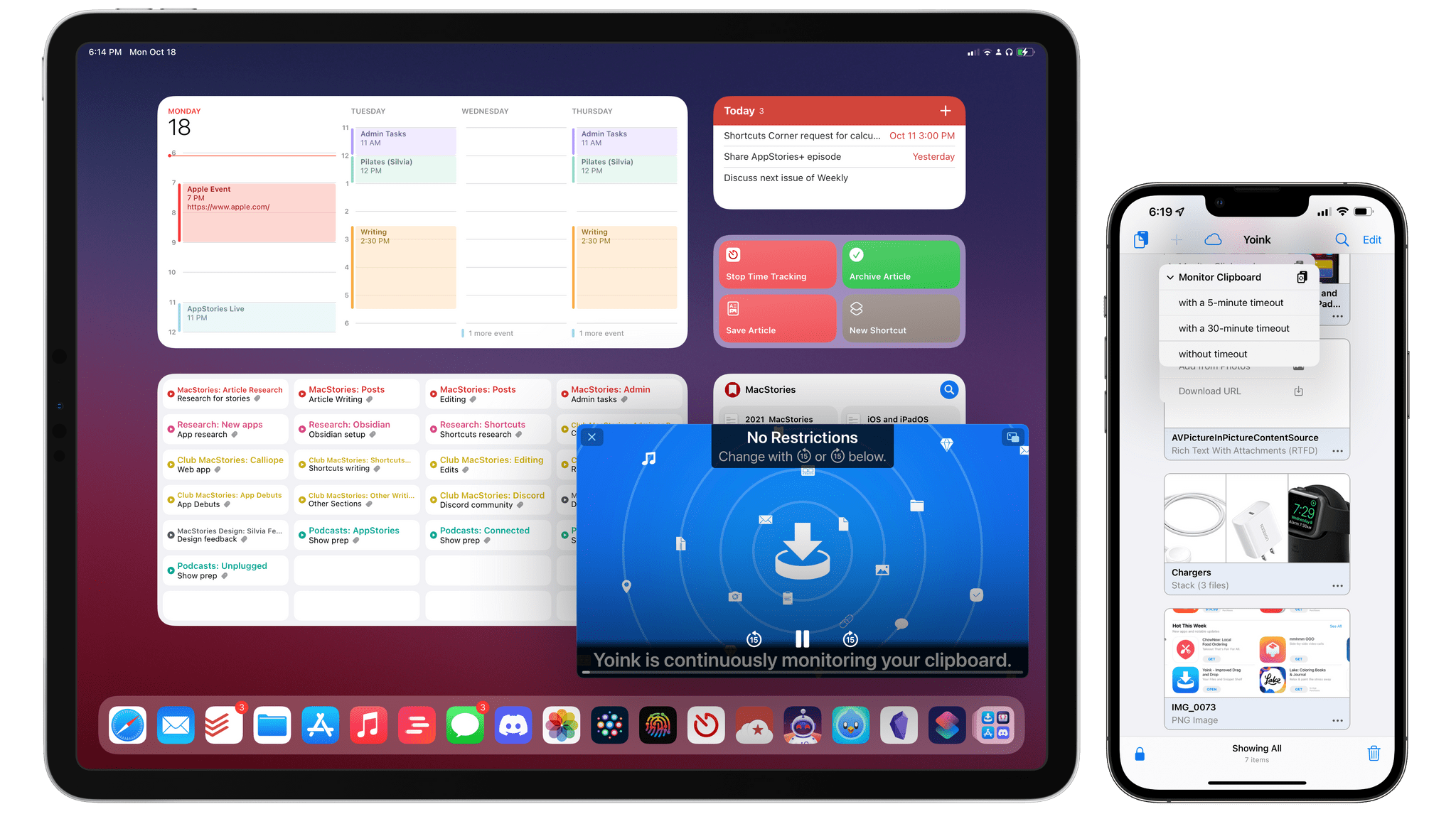 Yoink's new persistent clipboard monitoring.