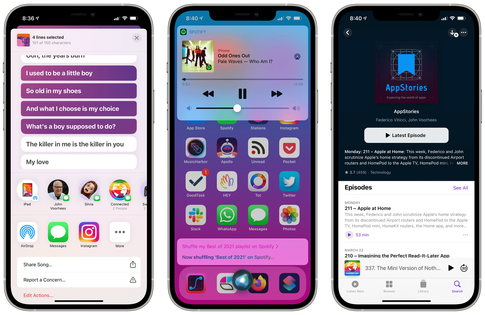 Shareable lyrics, third-party music services for Siri, and the refreshed Podcasts app in iOS 14.5.