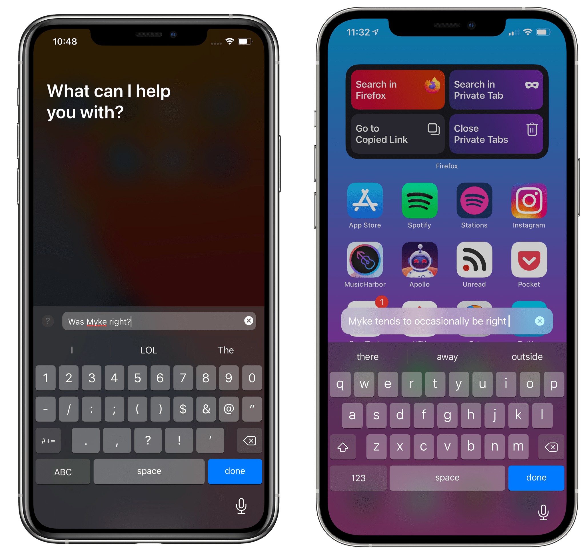 The updated Type to Siri (right) uses compact UI in iOS 14.5.