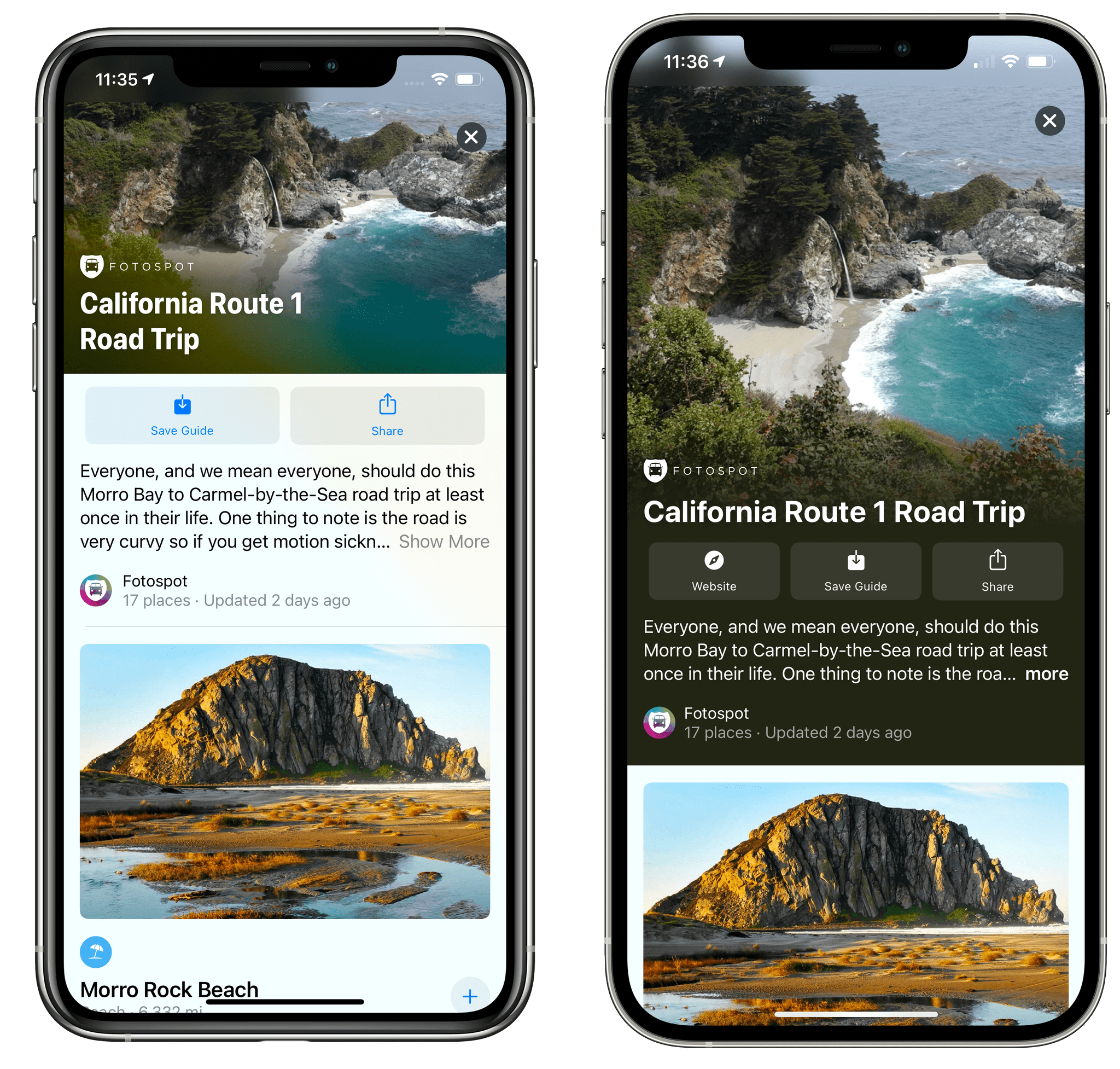 The redesigned guides for Maps in iOS 14.5 (right).