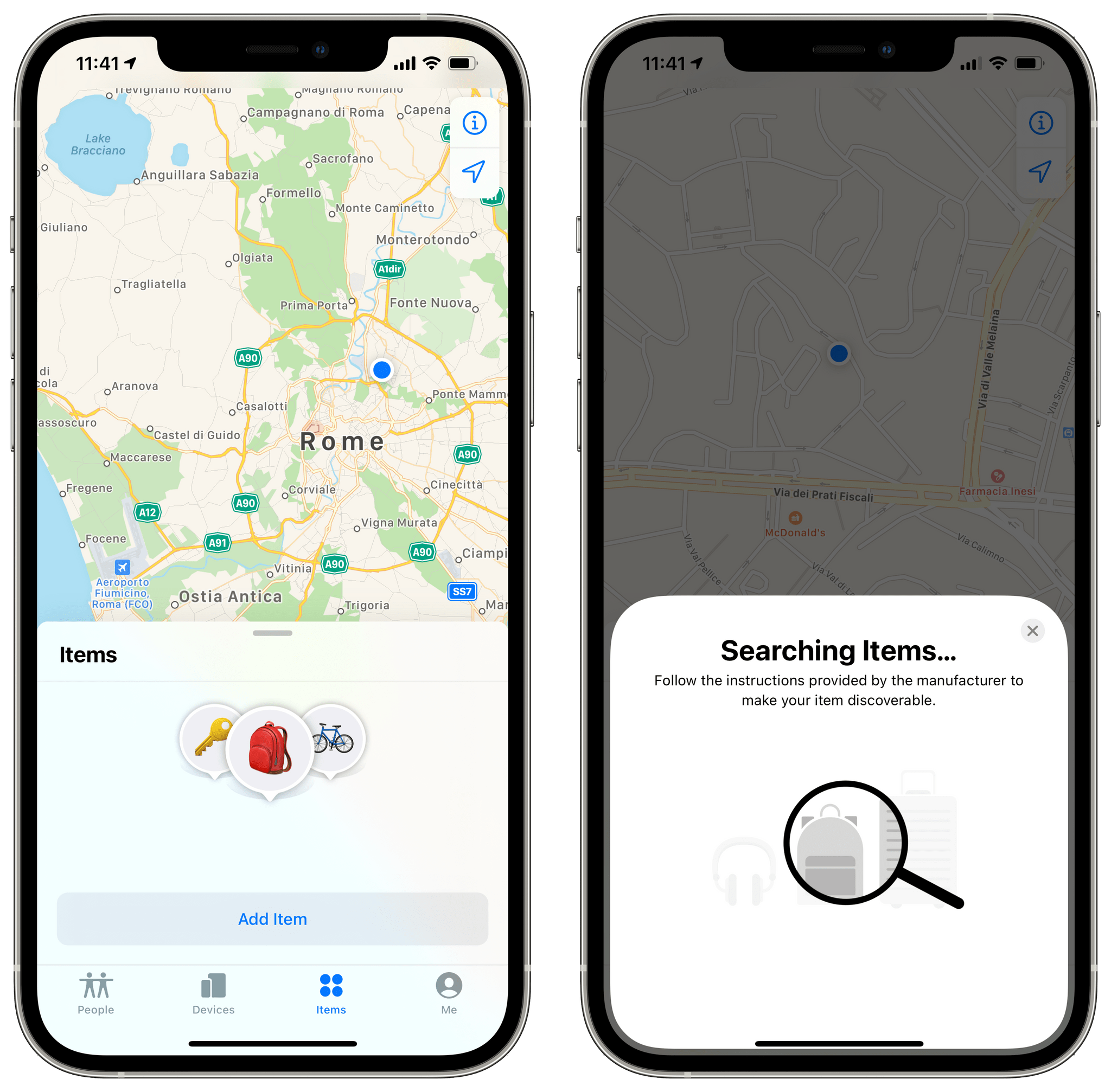 Support for items in the Find My app.
