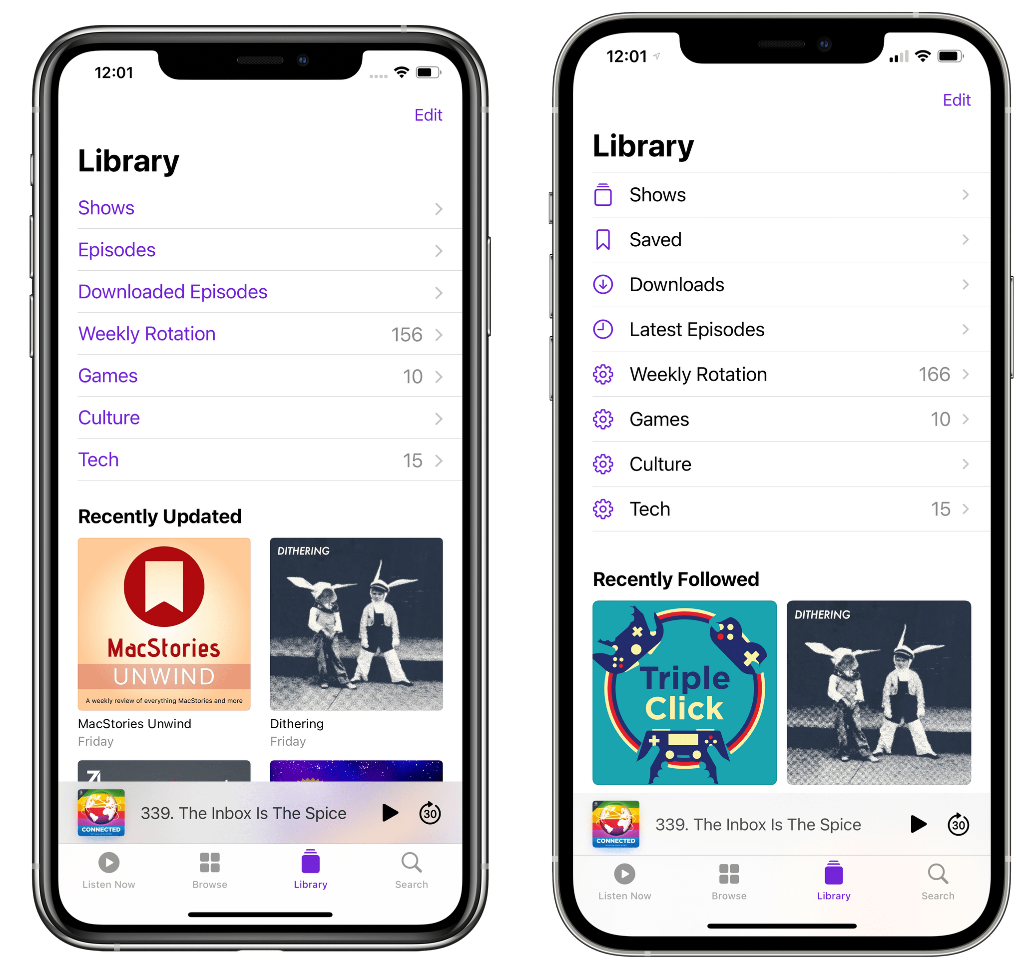 The updated Library page in Podcasts (right).