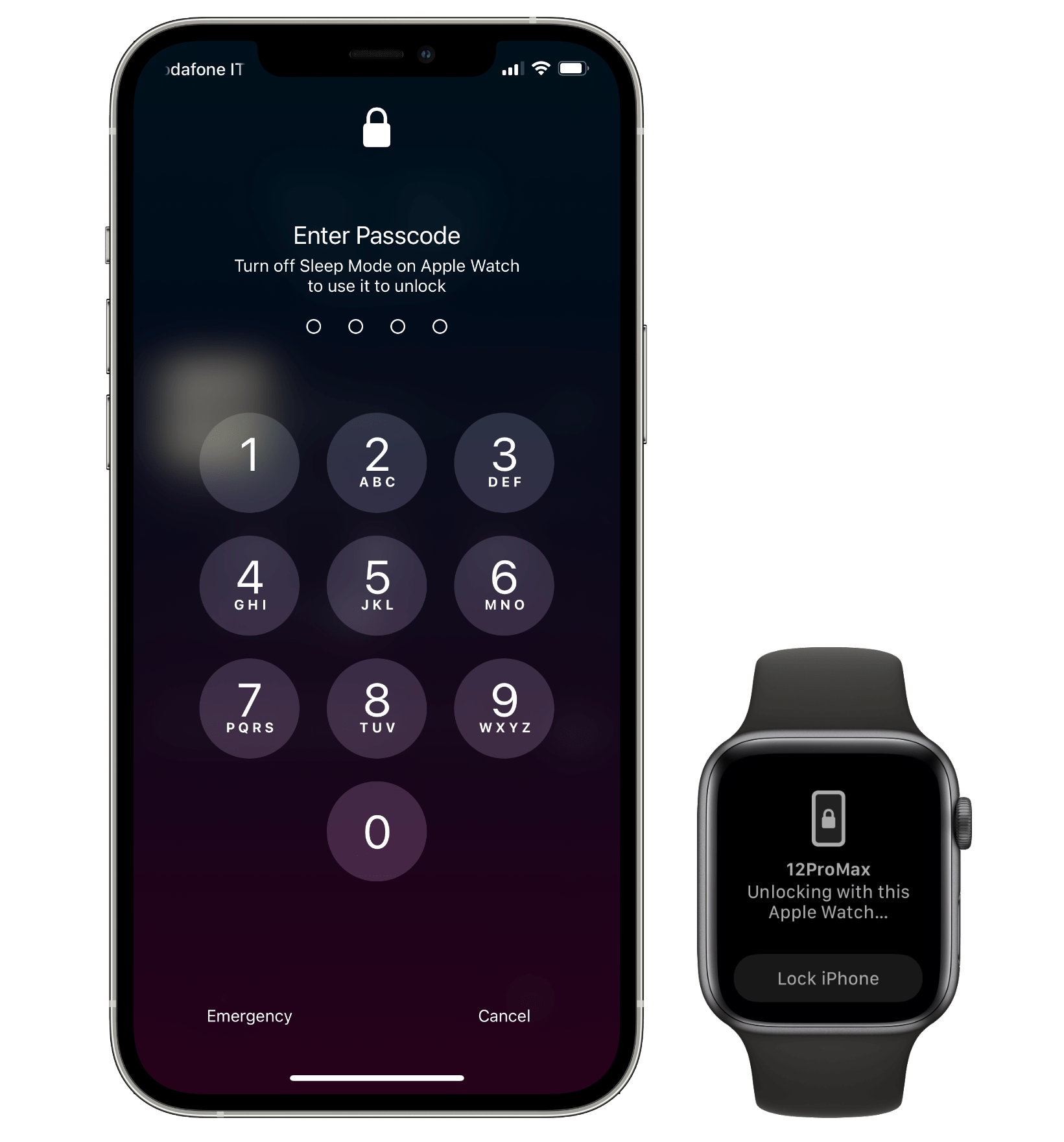 Apple Watch authentication won't work while your iPhone is in sleep mode.