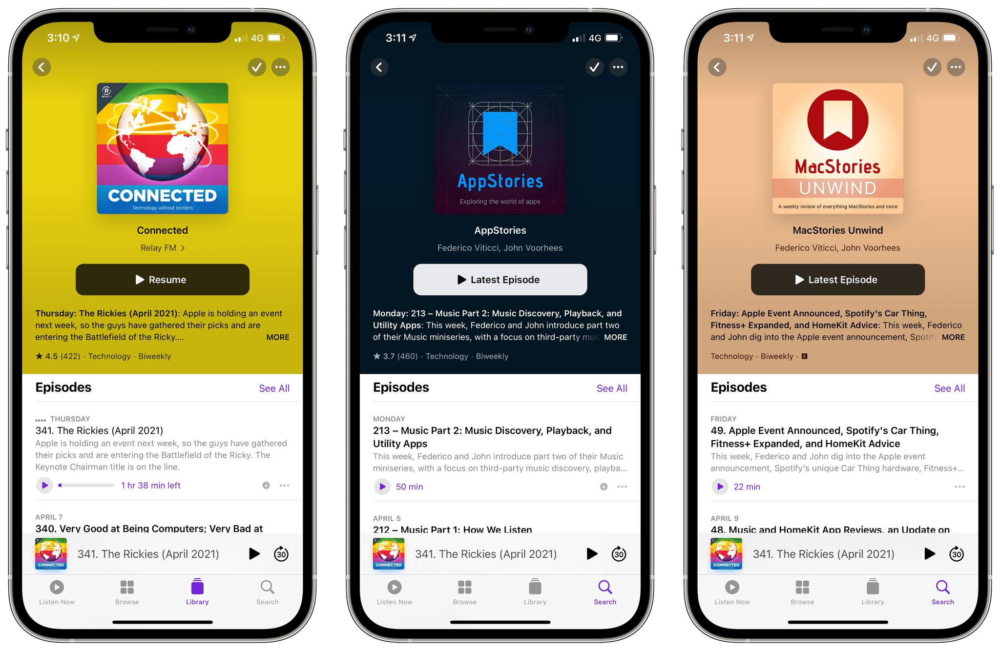 Episode release frequency in Apple Podcasts.