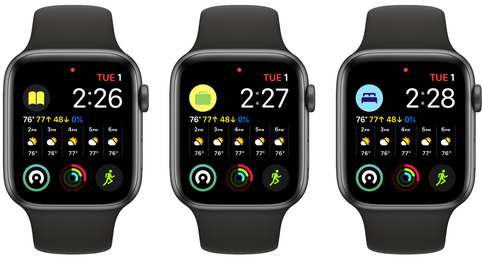 My three watch complications occupy the top left corner of my Infograph Modular watch face.