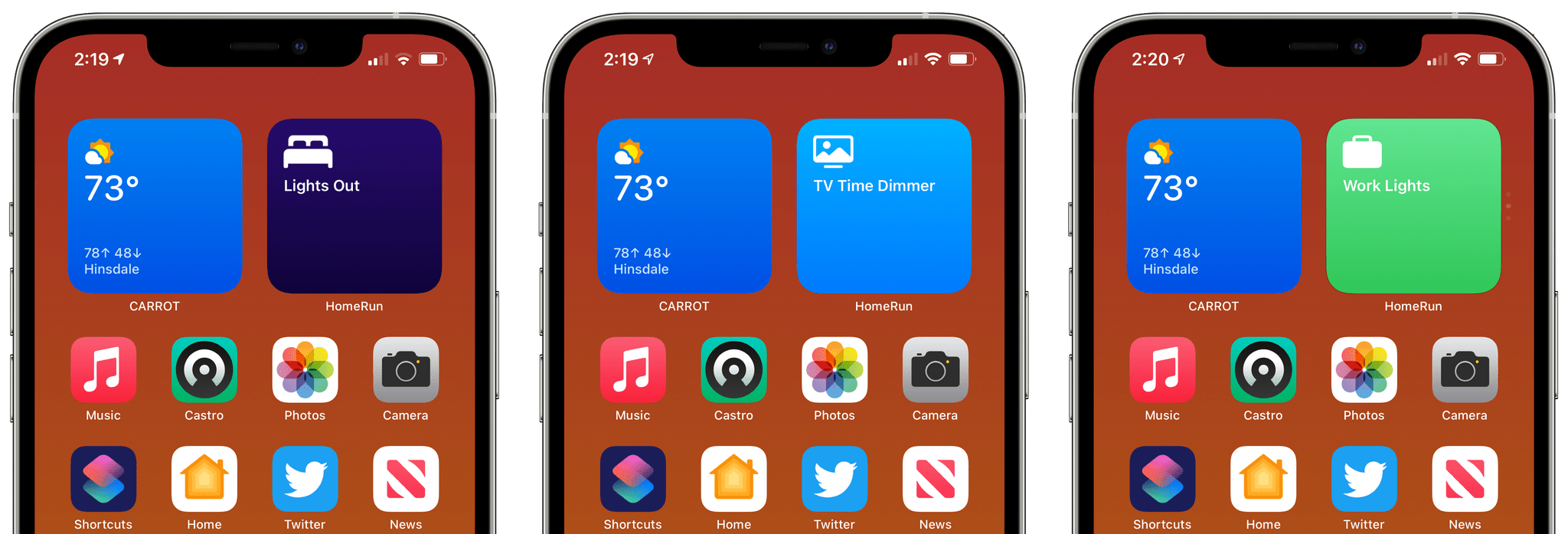 I'm using three small HomeRun widgets in a stack in the top right corner of my first Home Screen.