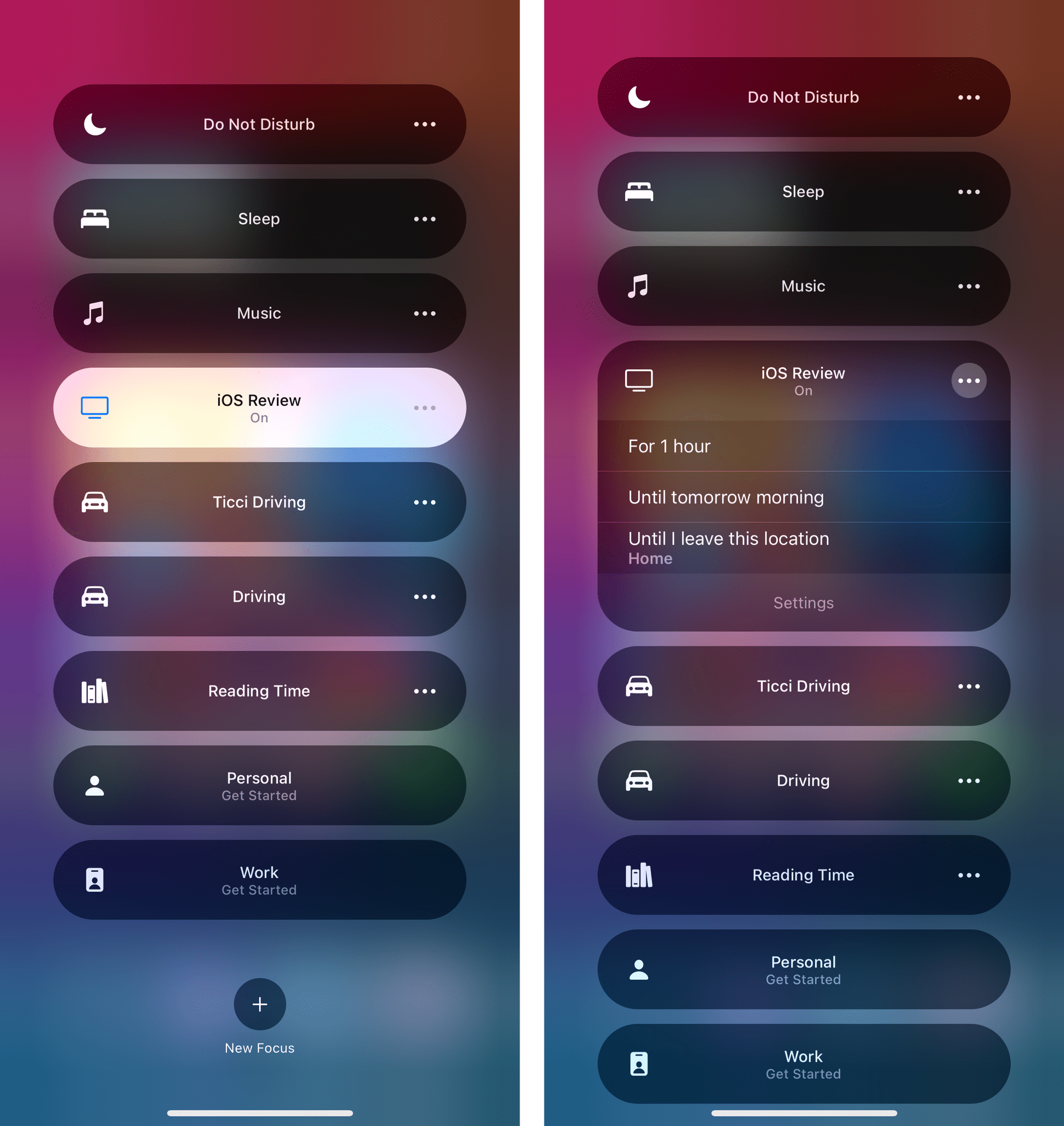 As with Do Not Disturb, you'll find toggles in Control Center to enable Focus for one hour, until later in the day, or until you leave the current location.