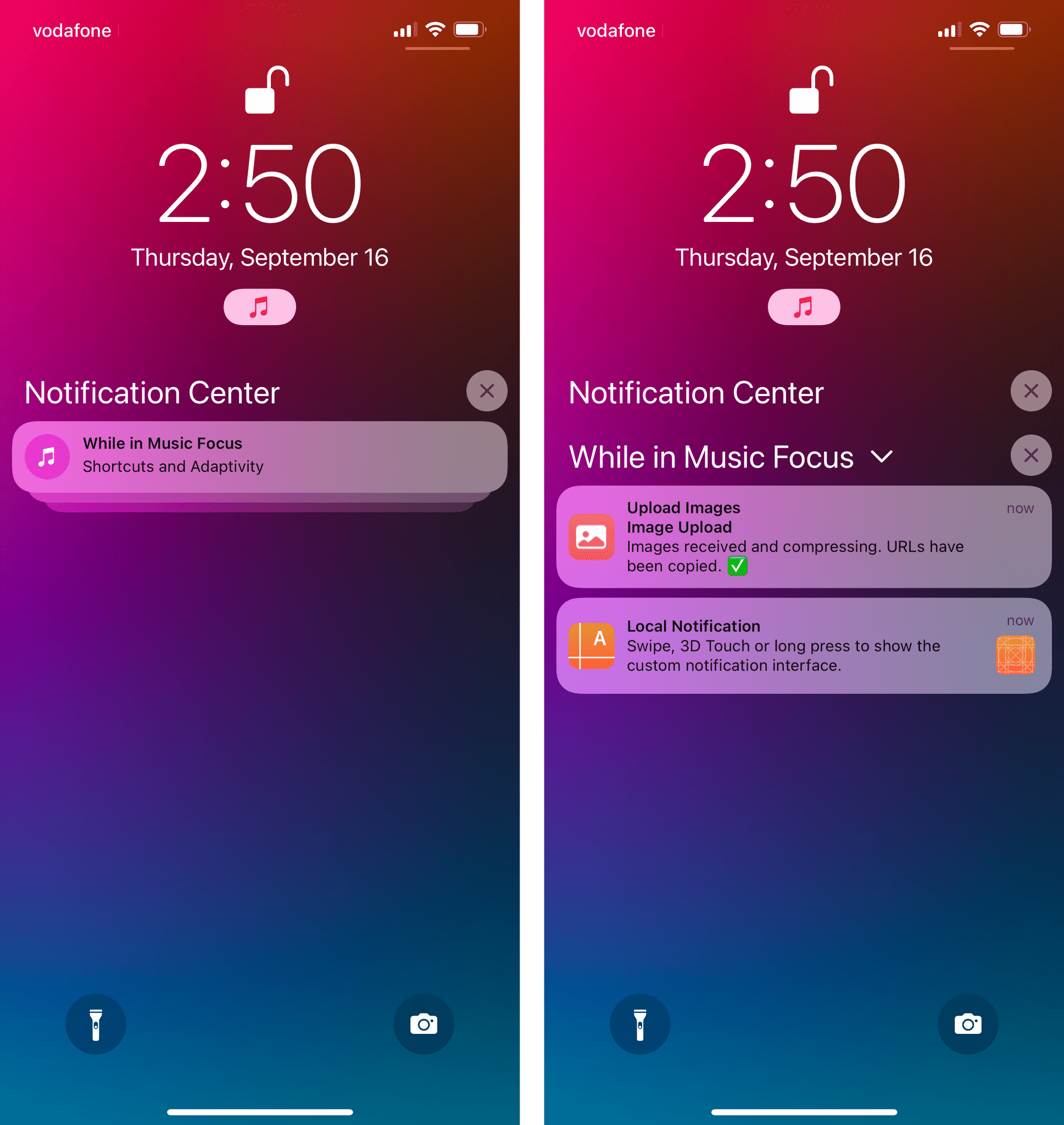 Notifications you missed while in Focus are grouped together.
