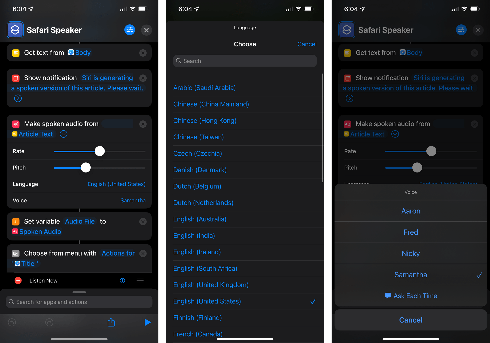You can now make spoken audio from text using Shortcuts.