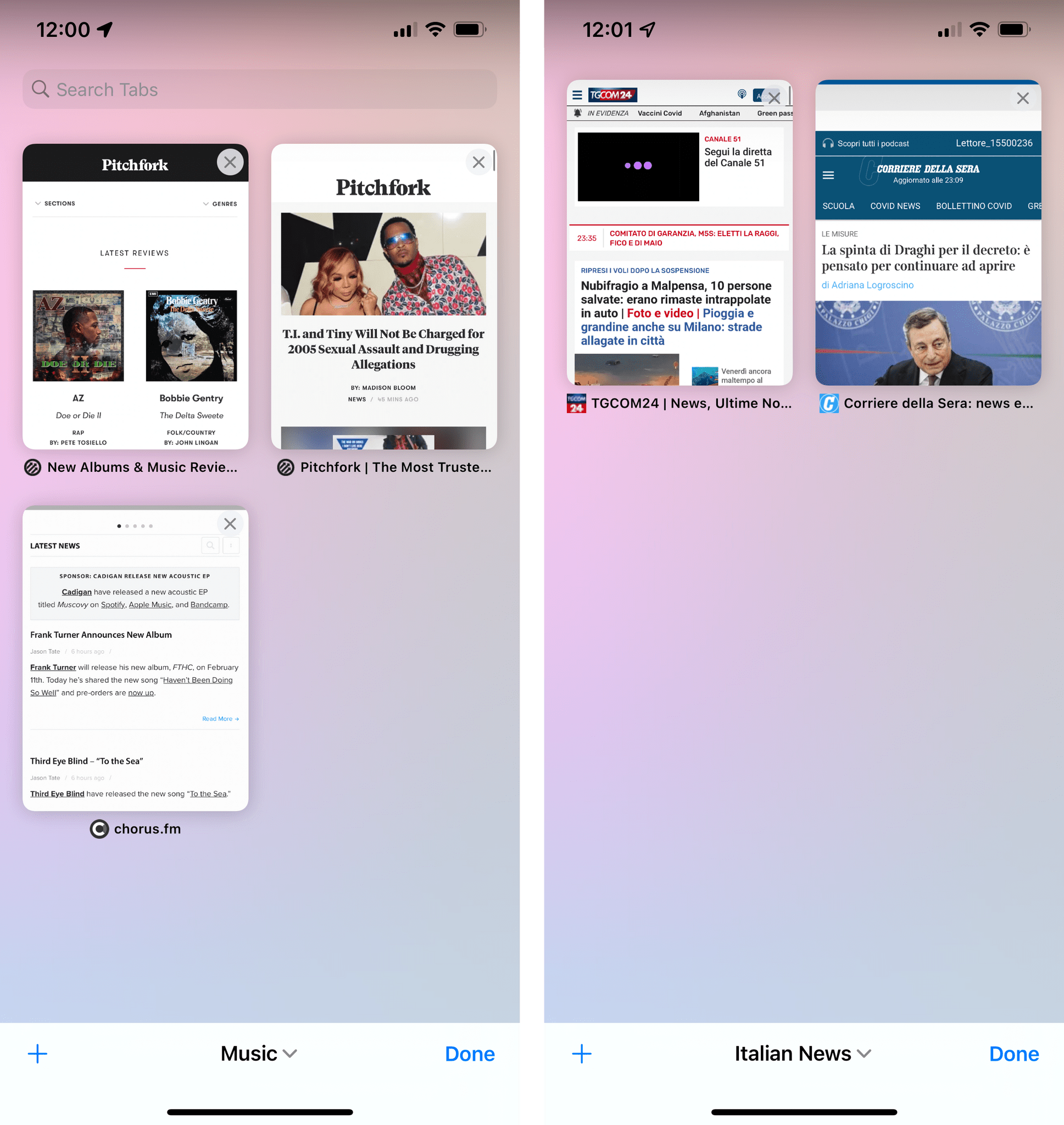 Tabs from different tab groups in iOS 15.