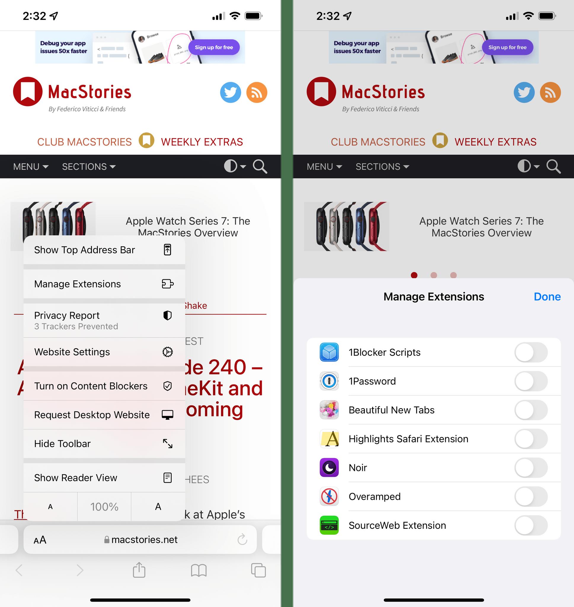 Enabling extensions inside Safari itself.