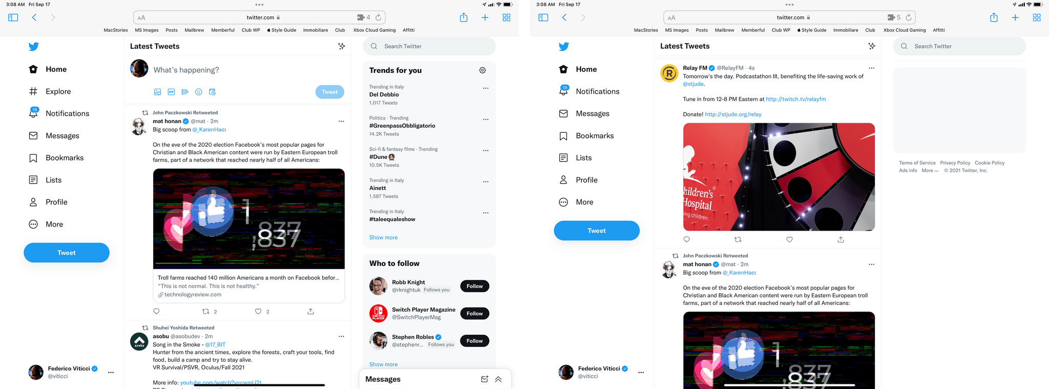 Before (left) and after Tweaks for Twitter.