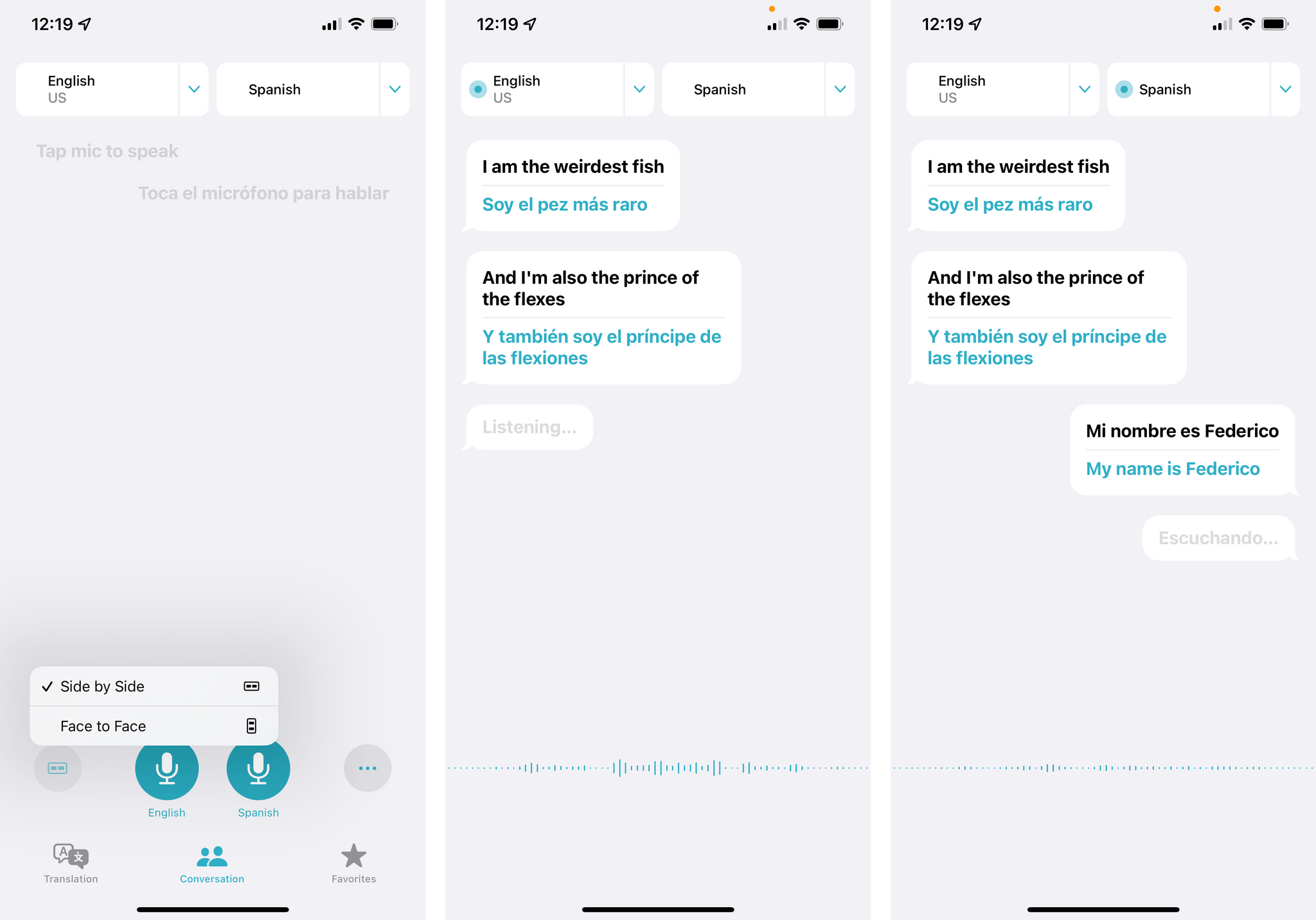 The new side by side view in Translate.