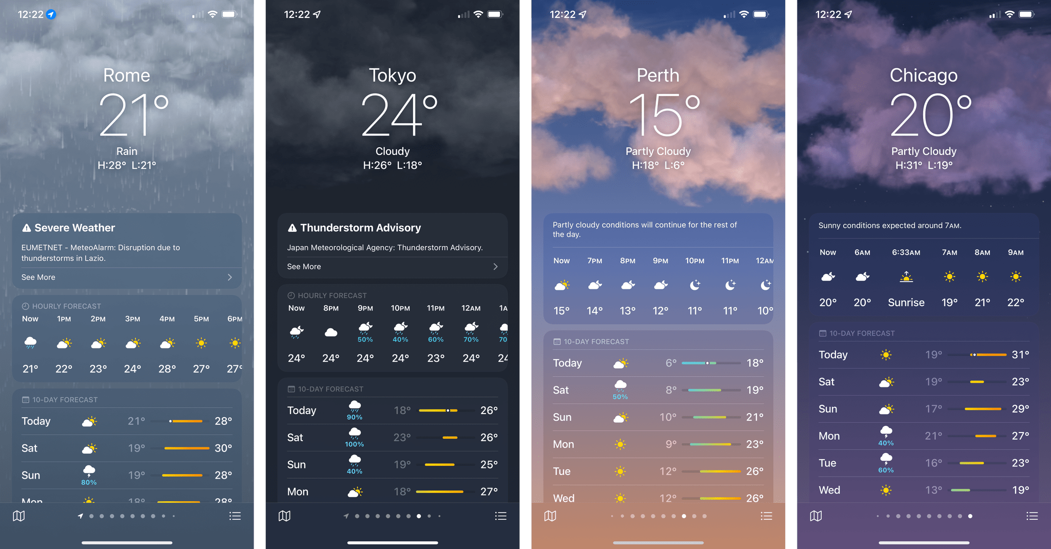 The updated Weather app.